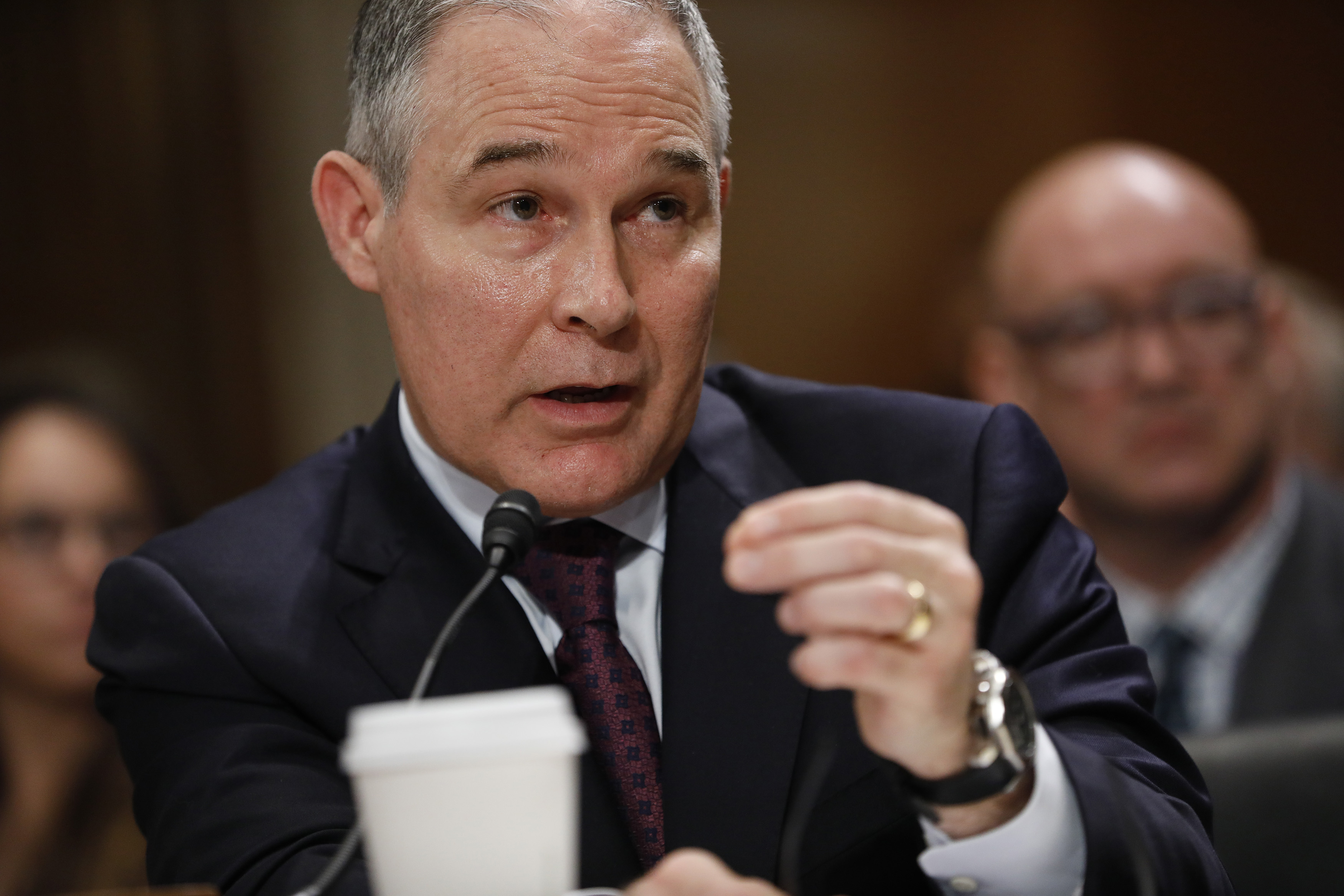 Oklahoma Attorney General Scott Pruitt, President-elect Donald Trump's choice to head the Environmental Protection Agency, testifies during his confirmation hearing before the Senate Committee on Environment and Public Works on Capitol Hill on Jan. 18 in Washington, DC.