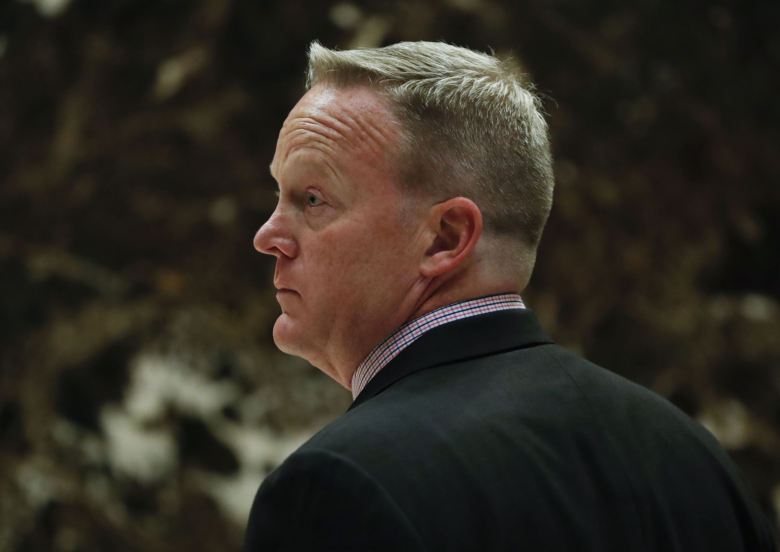 Sean Spicer, Republican National Committee communications director and chief strategist, waits for an elevator as he arrives at Trump Tower, in New York on Nov. 16, 2016.