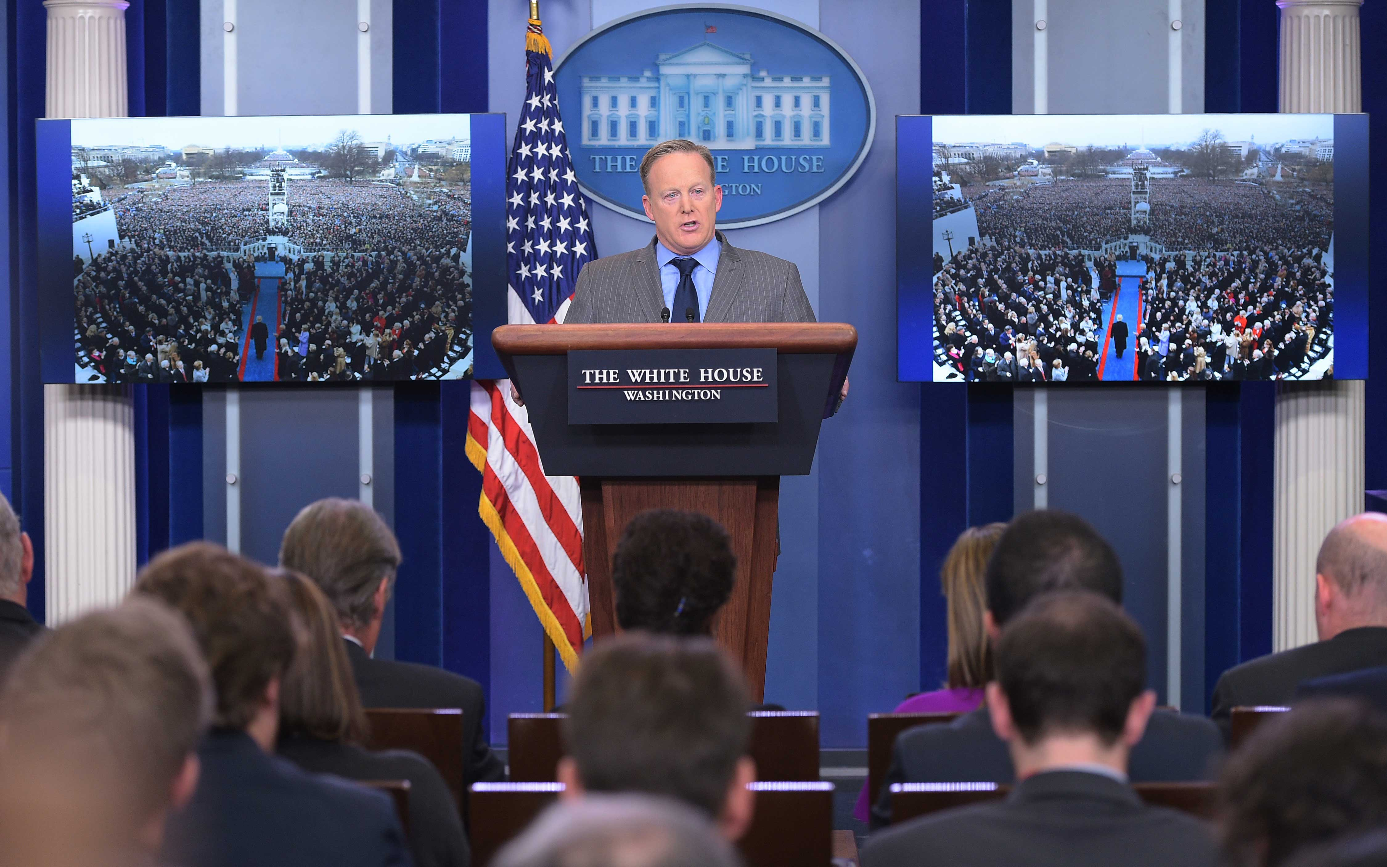 White House Press Secretary Sean Spicer delivers a statement in the Brady Briefing Room of the White House on Jan. 21, 2017.