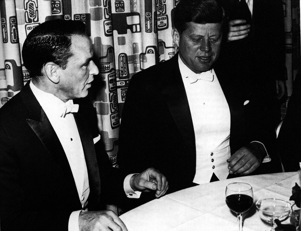 Frank Sinatra with President John F. Kennedy at Kennedy's inaugural ball at the Mayflower Hotel in Washington D.C, Jan. 20, 1961.