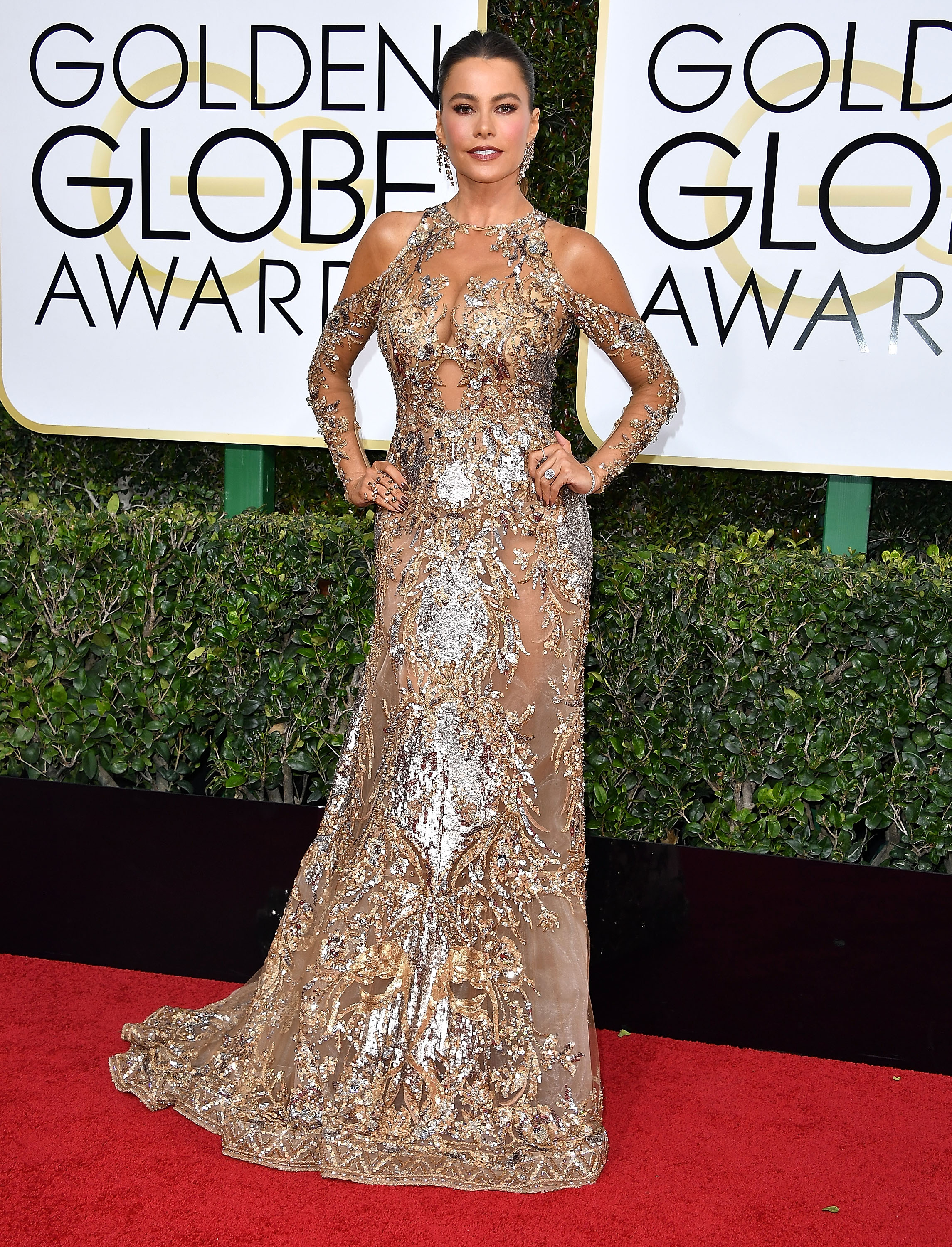 BEVERLY HILLS, CA - JANUARY 08: Sofia Vergara arrives at the 74th Annual Golden Globe Awards at The Beverly Hilton Hotel on January 8, 2017 in Beverly Hills, California. (Photo by Steve Granitz/WireImage)