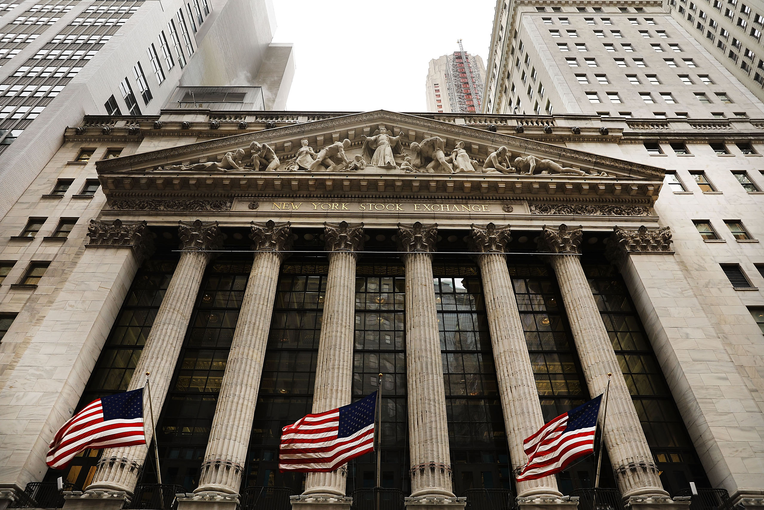 The New York Stock Exchange (NYSE) stands in lower Manhattan on the first day of trading after Donald Trump was sworn in as president on Jan. 23, 2017.