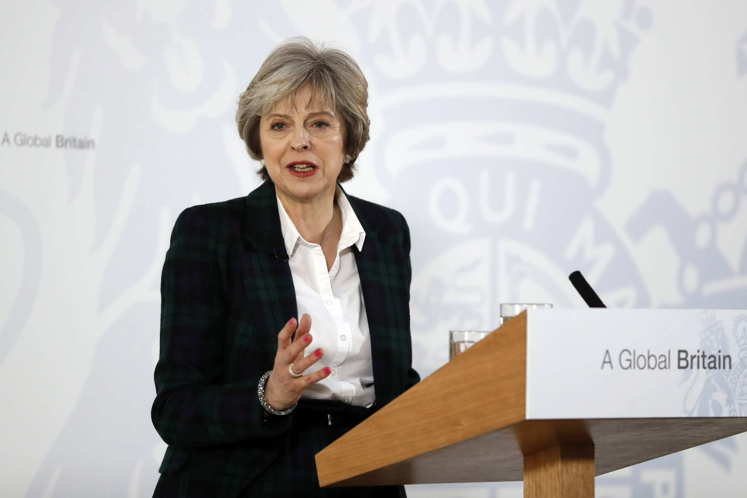 British Prime Minister Theresa May delivers her keynote speech on Brexit at Lancaster House  in London, England on Jan. 17, 2017.