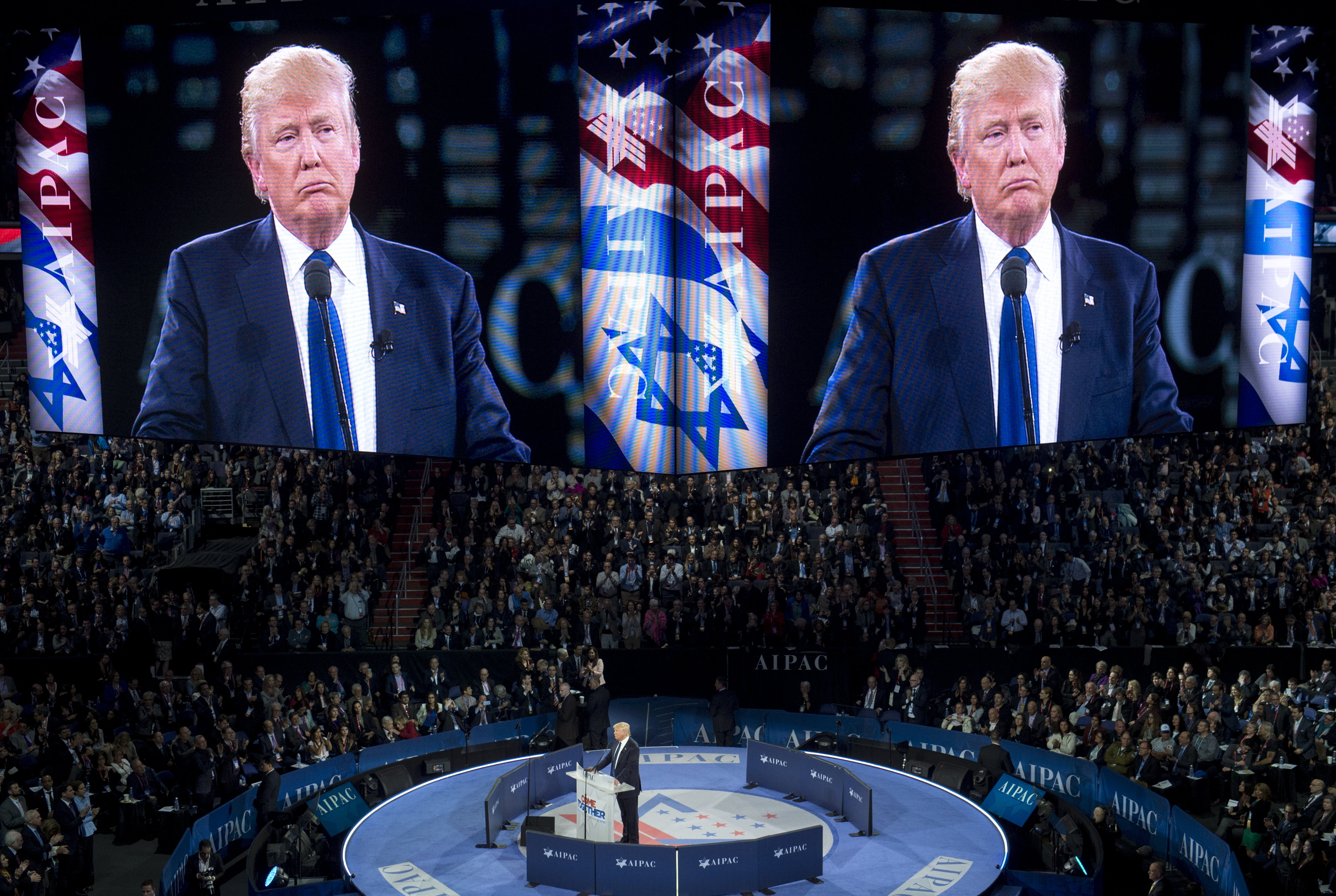 Donald Trump speaks during AIPAC in Washington, DC, on March 21, 2016.