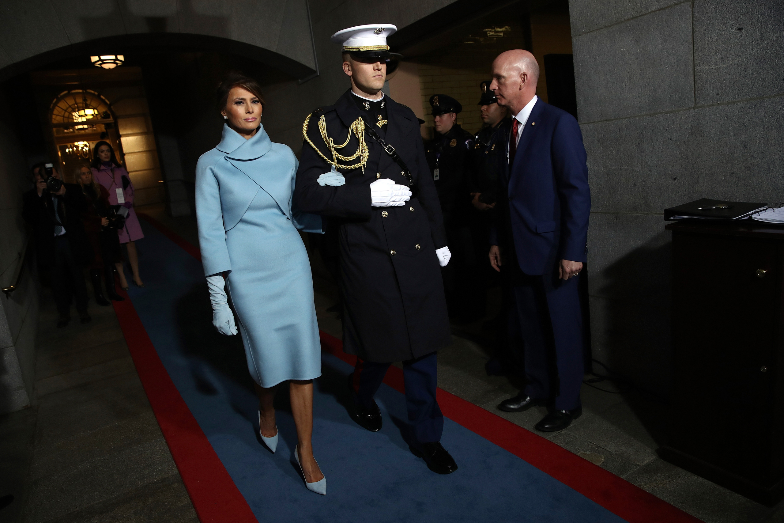 Melania Trump arrives on the West Front of the U.S. Capitol in Washington on Jan. 20, 2017.