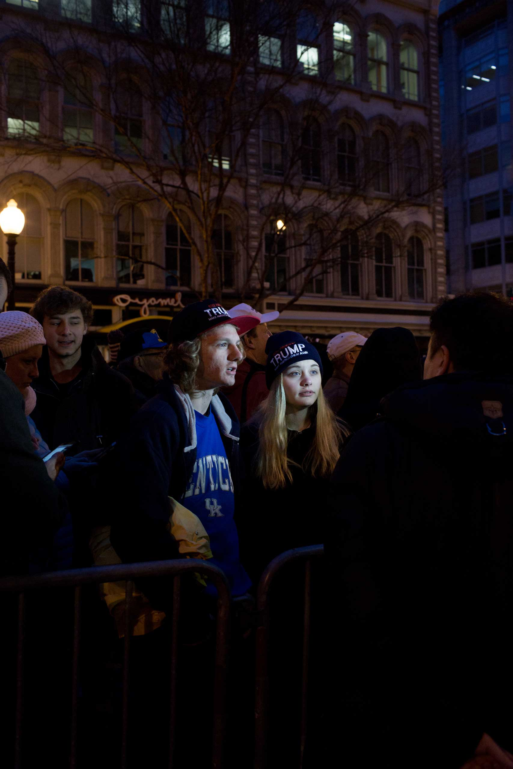 7:45 AM: A couple of Trump supporters give an interview as they wait in the security line to access the Navy Memorial. It's 7 AM and it quickly dawns on the protesters that both supporters and protesters of Trump's presidency will have to wait in the same security lines. It's freezing cold and sellers hawk hand warmers and ponchos. We wait but the line doesn't move, so both groups answer requests for interviews, accusing the other side of being stupid within ear shot of each other.                                                              I marvel that there's no major conflicts between the various groups.