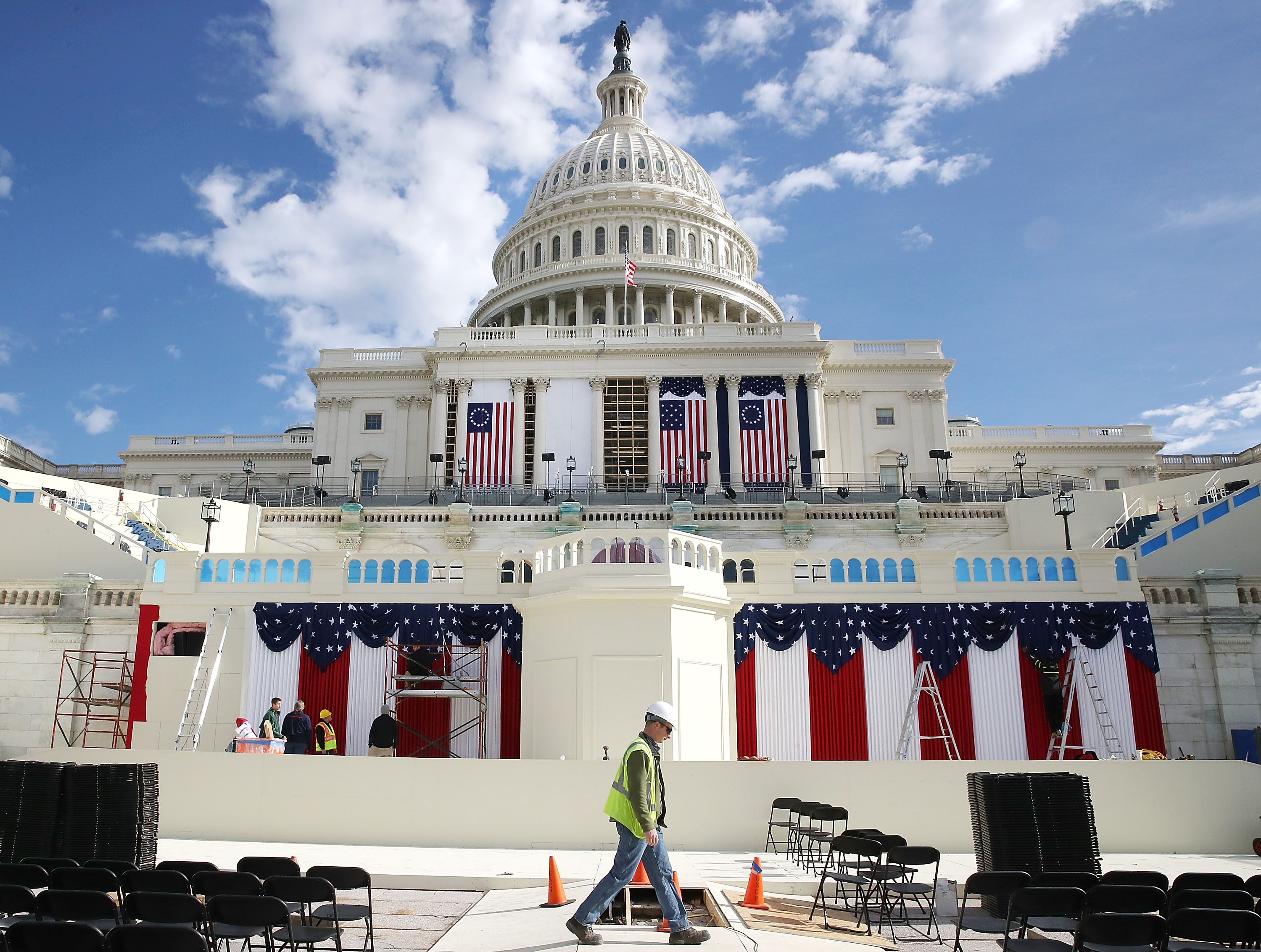 Work is still being performed on the stage ahead of next week inauguration at the U.S. Capitol, on Jan.13, 2017 in Washington, DC.