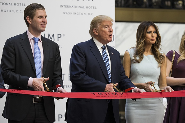 From left: Eric Trump, Donald Trump and,Melania Trump in Washington, D.C., on Oct. 26, 2016.
