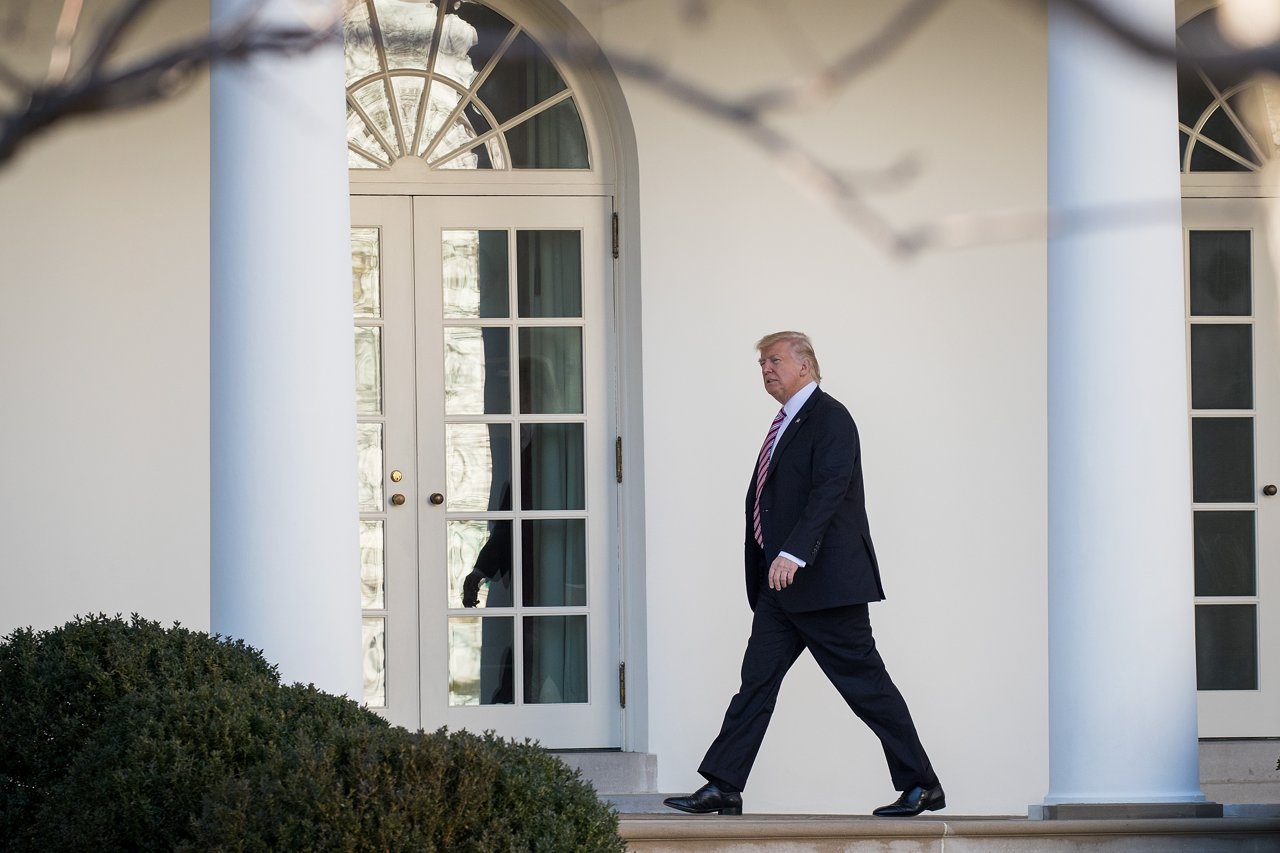 President Trump walks along the West Wing Colonnade on his way to the Oval Office at the White House, on Jan. 26, 2017.