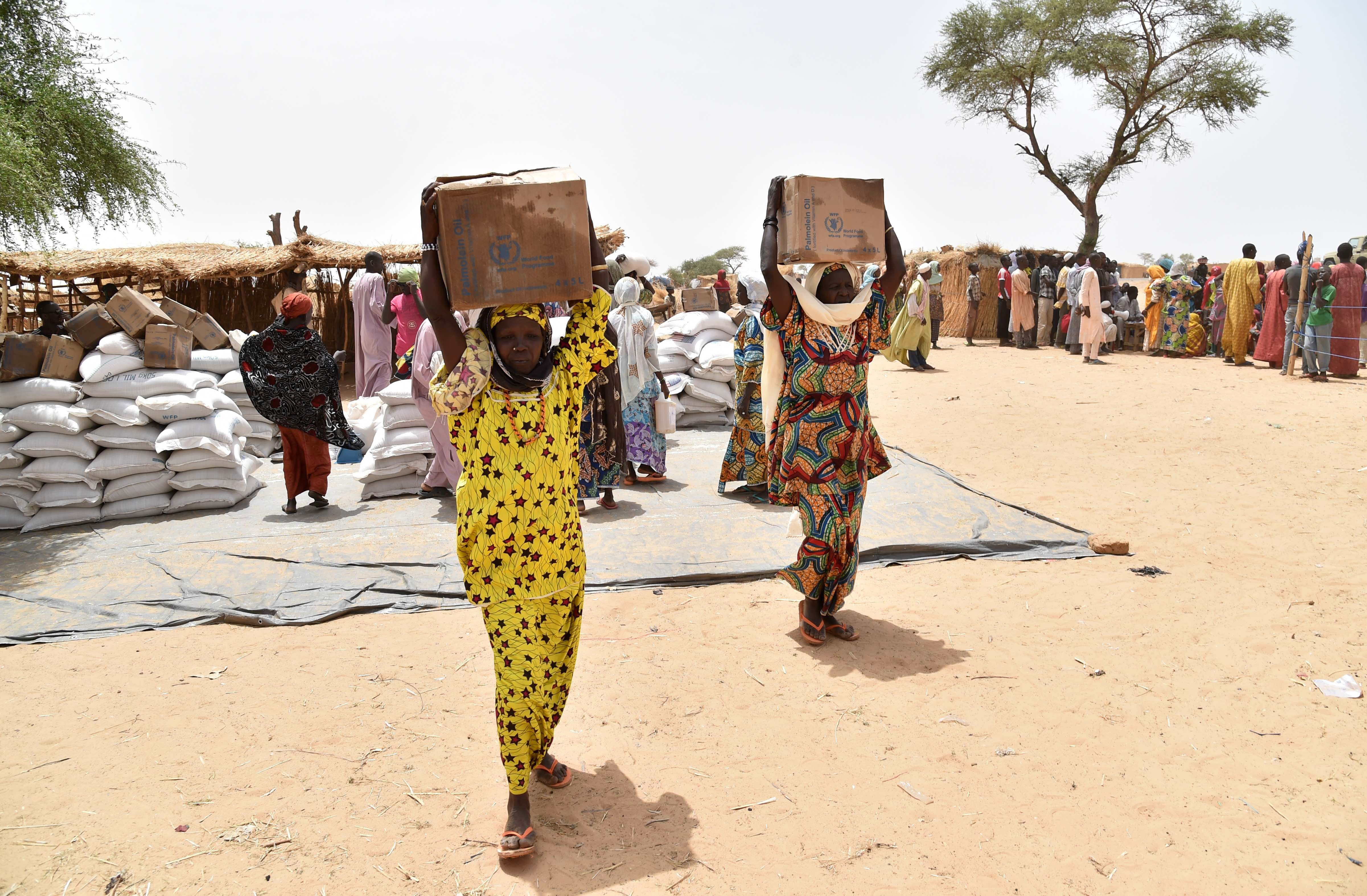 Displaced people fleeing from Boko Haram incursions into Niger carry boxes of oil during a World Food Programme (WFP) and USAID food distribution at the Asanga refugee camp near Diffa on June 16, 2016.