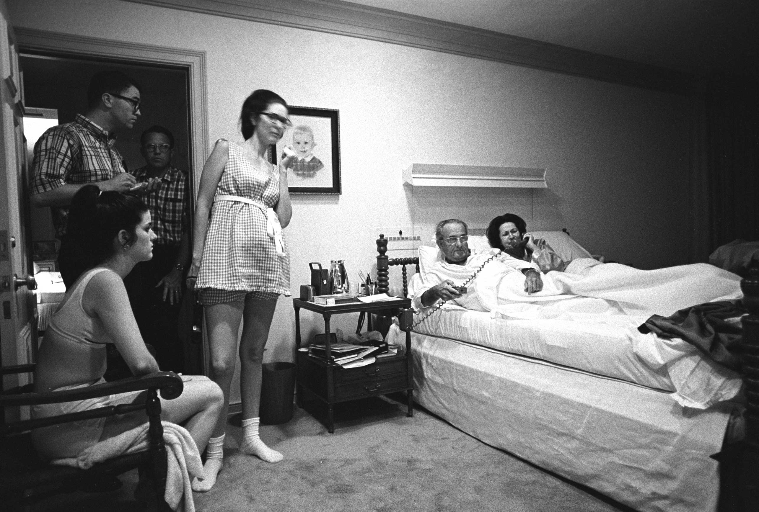 President Lyndon B. Johnson and family watch the Democratic National Convention on television from the president's bedroom on Aug. 28, 1968.