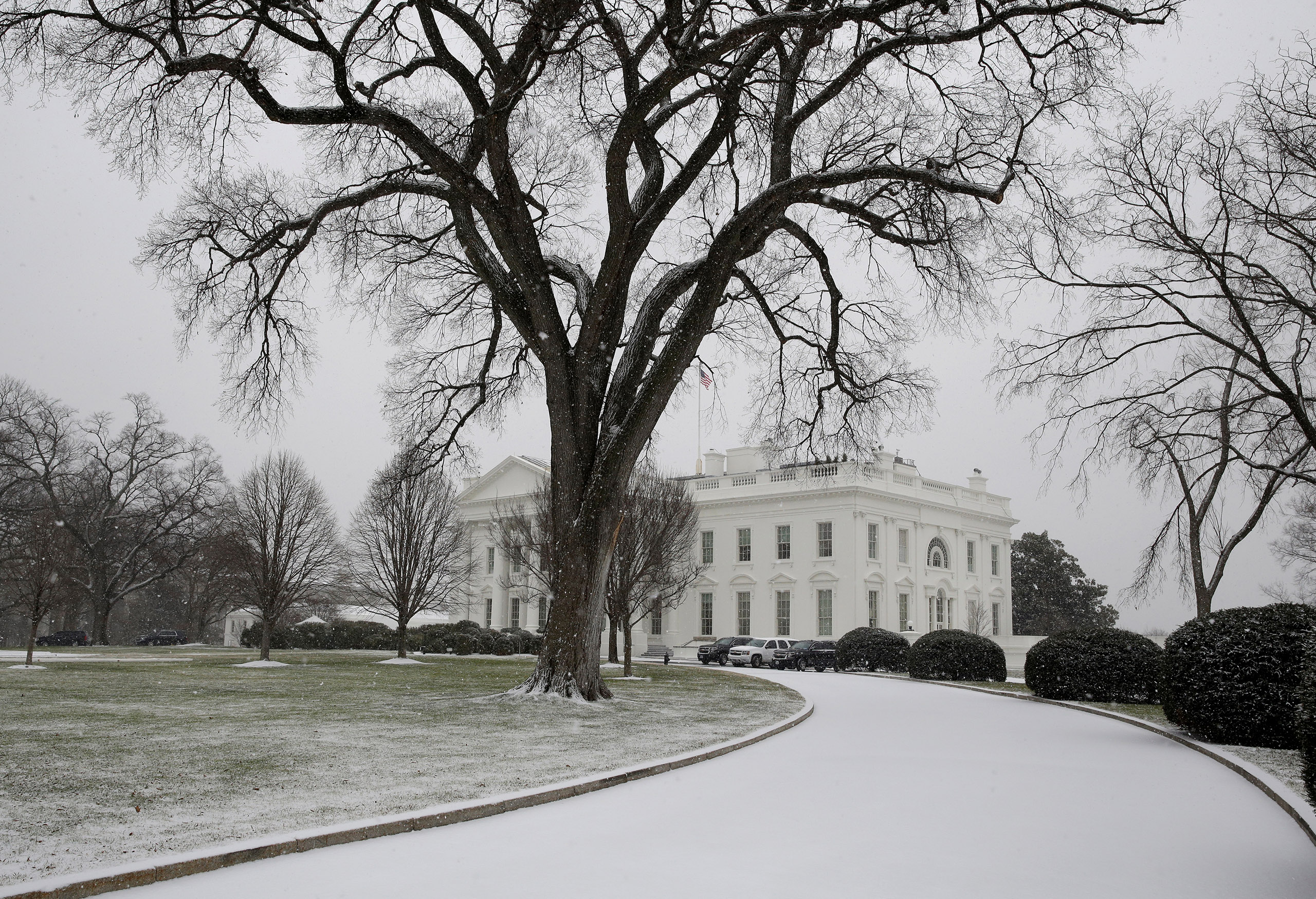 The White House driveway is covered in snow in Washington, on Jan. 7, 2017.