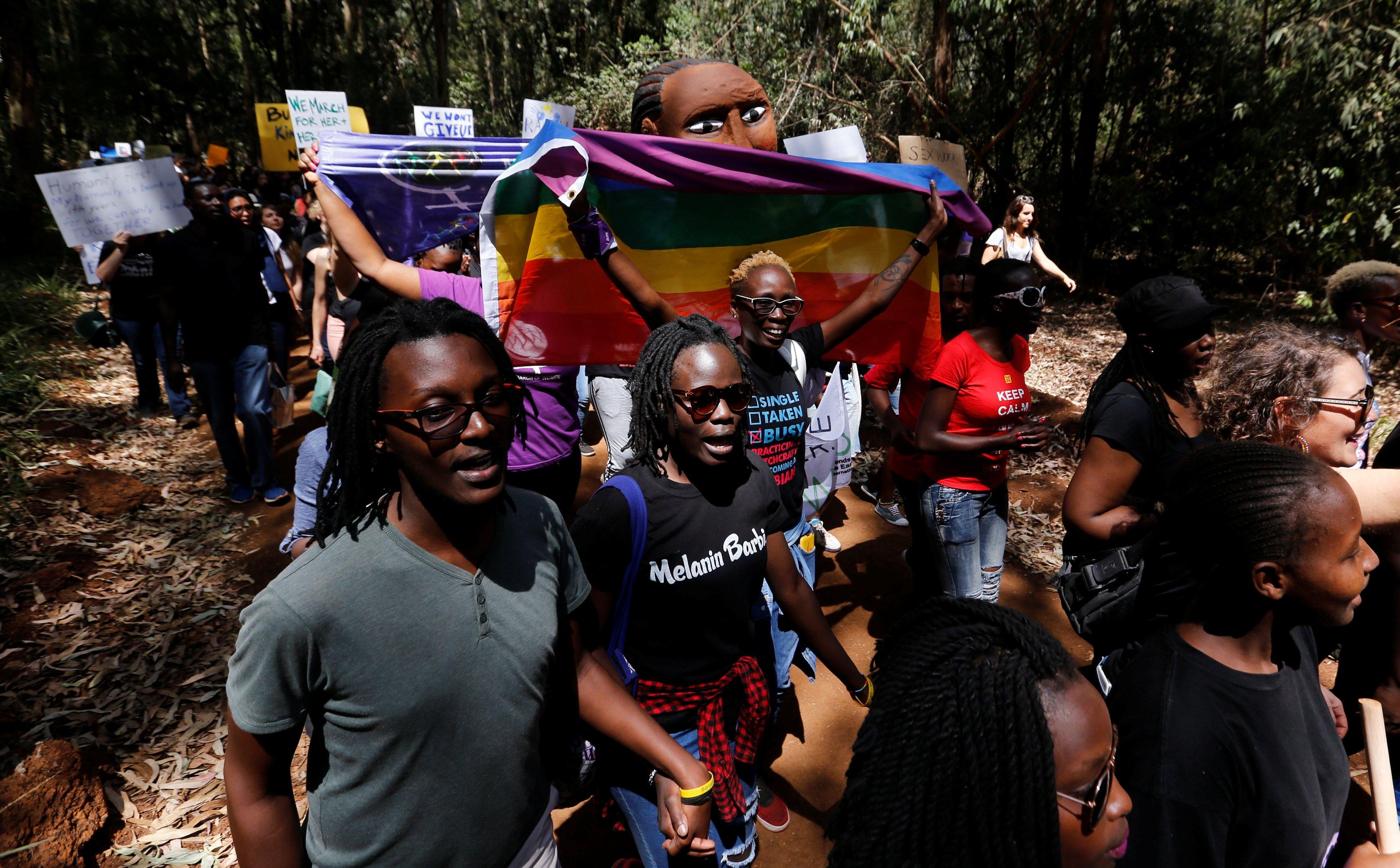 Demonstrators protest against Donald Trump during the Women's March inside Karura forest in Kenya's capital Nairobi, on Jan. 21, 2017.