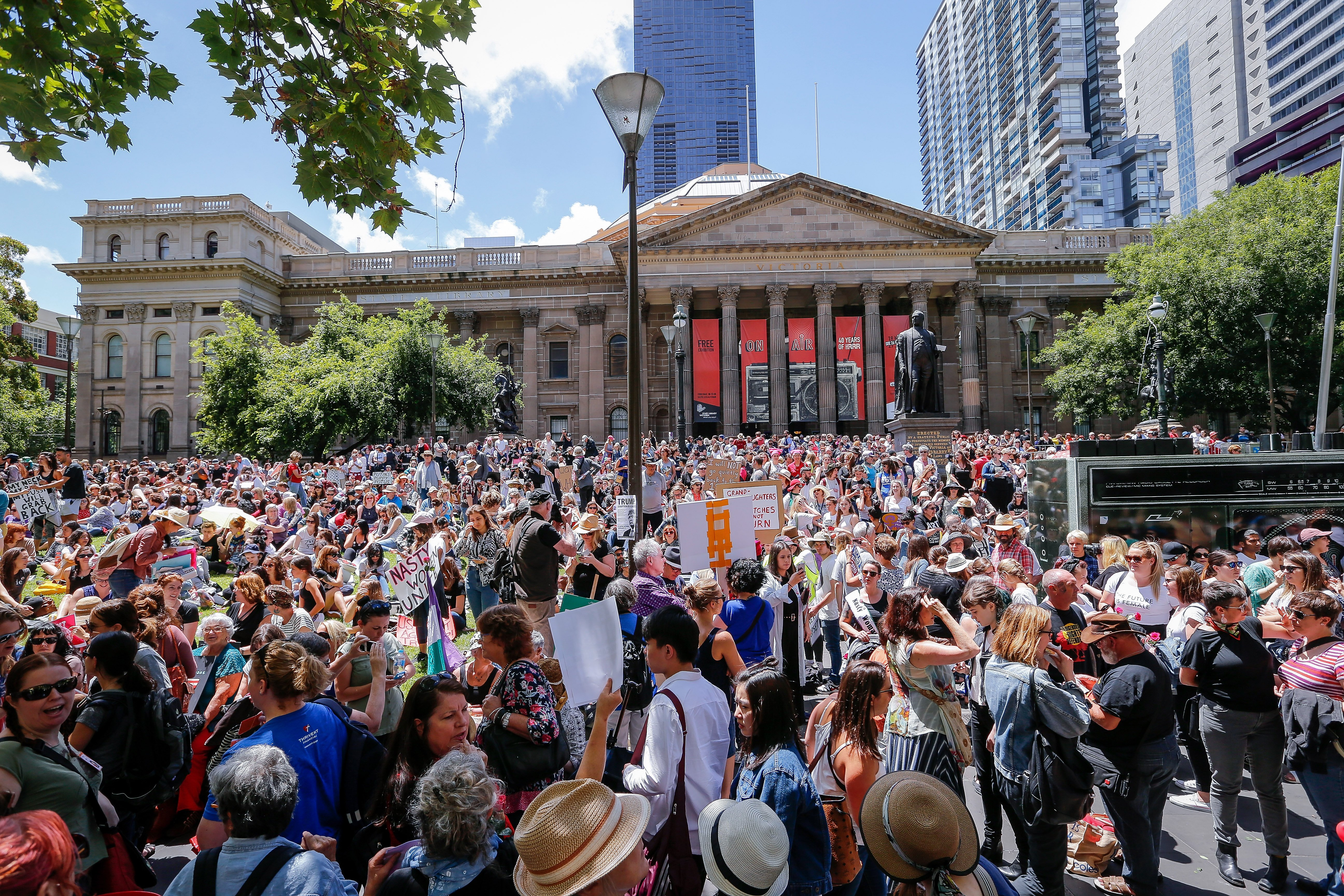 Protesters take part in the Melbourne rally to protest against the Trump Inauguration on Jan. 21, 2017 in Melbourne, Australia.