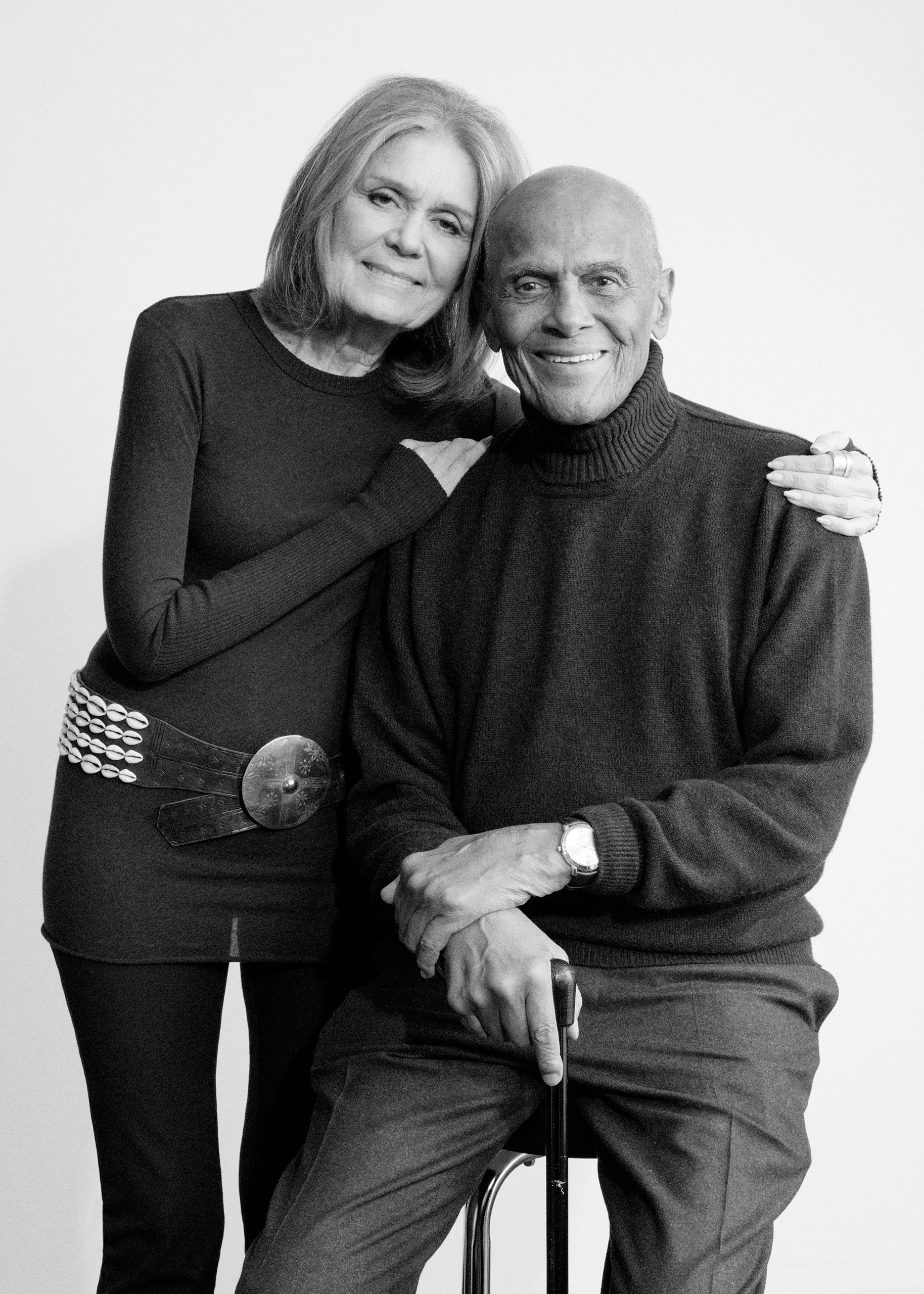 Honorary co-chairs for the Woman's March on Washington. Gloria Steinem and Harry Belafonte in New York on Jan. 9, 2017