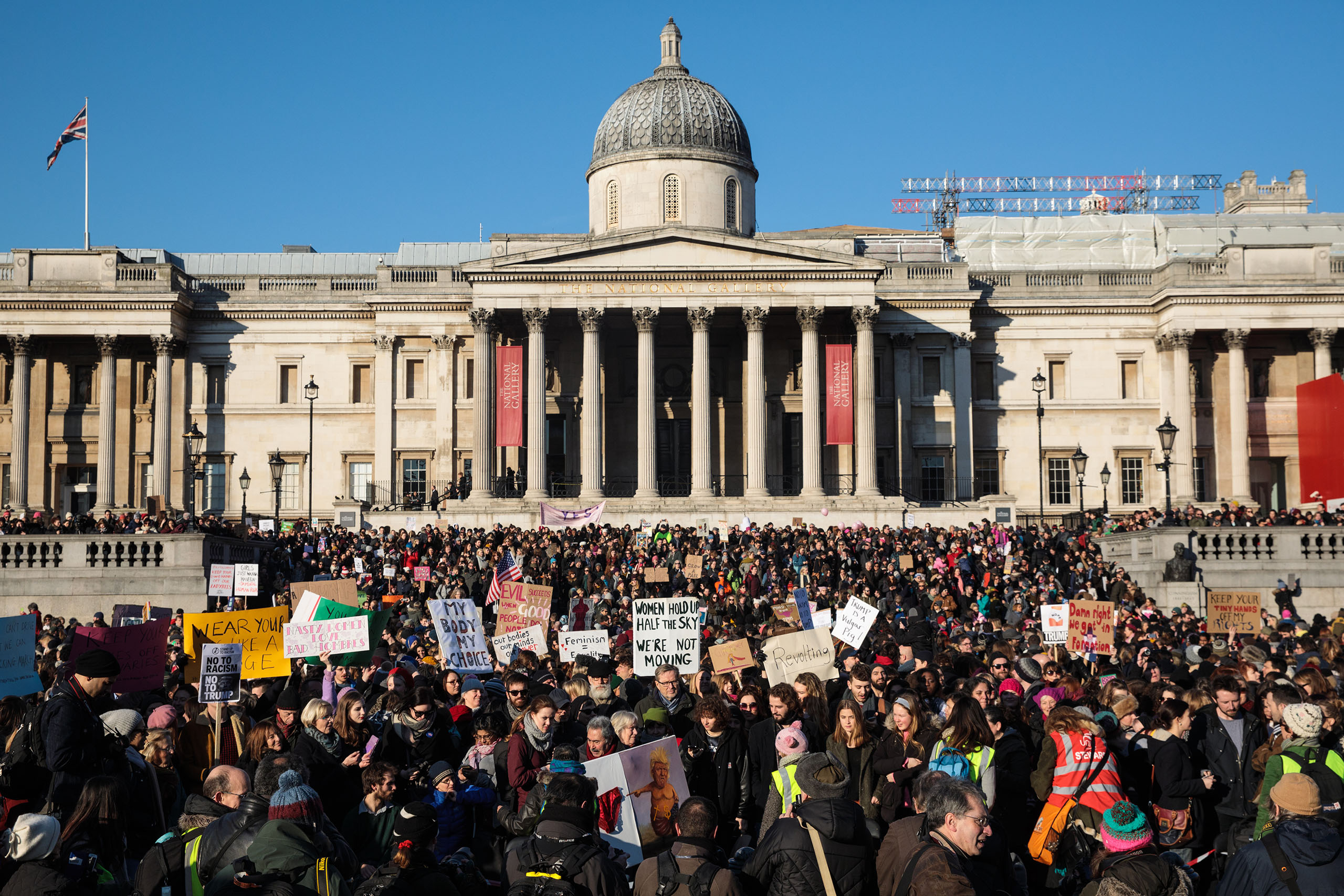 Thousands of protesters gather in Trafalgar Square during the Women's March in London, England on Jan. 21, 2017.