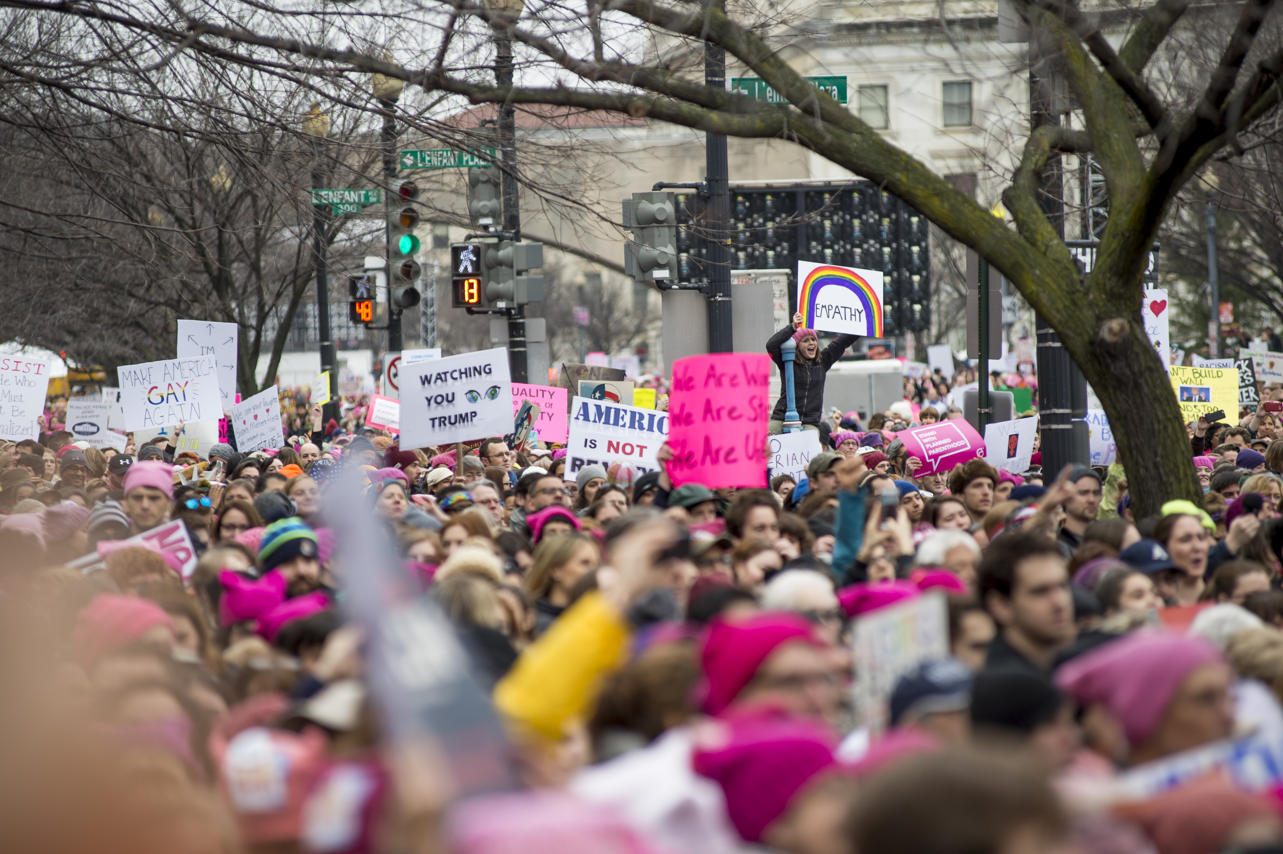 Crowds gather for the rally on Independence Ave next to the National Mall at the Women's March on Washington on Jan. 21, 2017 in Washington, DC.