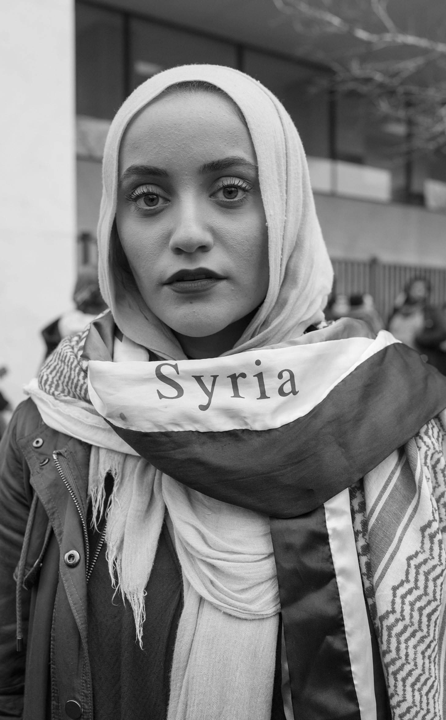 <b>Dana Mosa-Basha, 22, Michigan</b>                                   The crisis [in Syria] is so prevalent right now with the refugees coming in, that's why we're here right now, to be a voice for the people who don't have this safe haven, and these opportunities that we were given. Especially being Muslim, covered, and Syrian,  I want to represent the  people who have their identities stripped of them.  I just graduated from the University of Michigan.