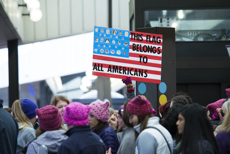 WASHINGTON, DC - JANUARY 21:  Women's March On Washington on January 21, 2017 in Washington, DC.  (Photo by Jenny Anderson/FilmMagic)