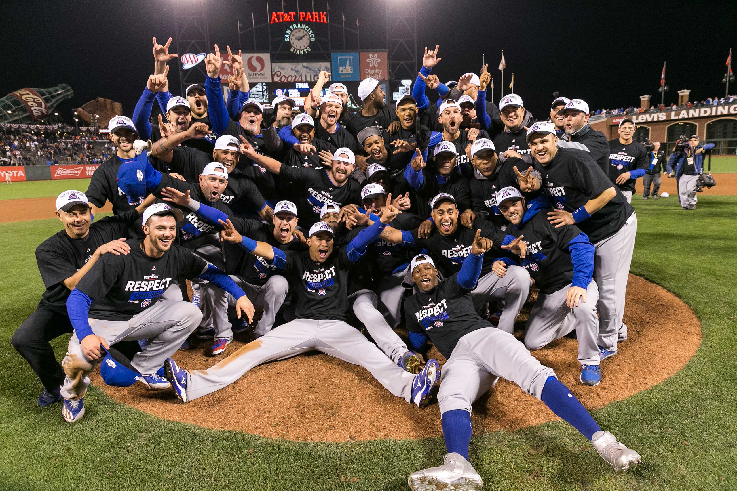 Cubs celebrate after Game 5 win of the NLDS, Oct. 11, 2016.