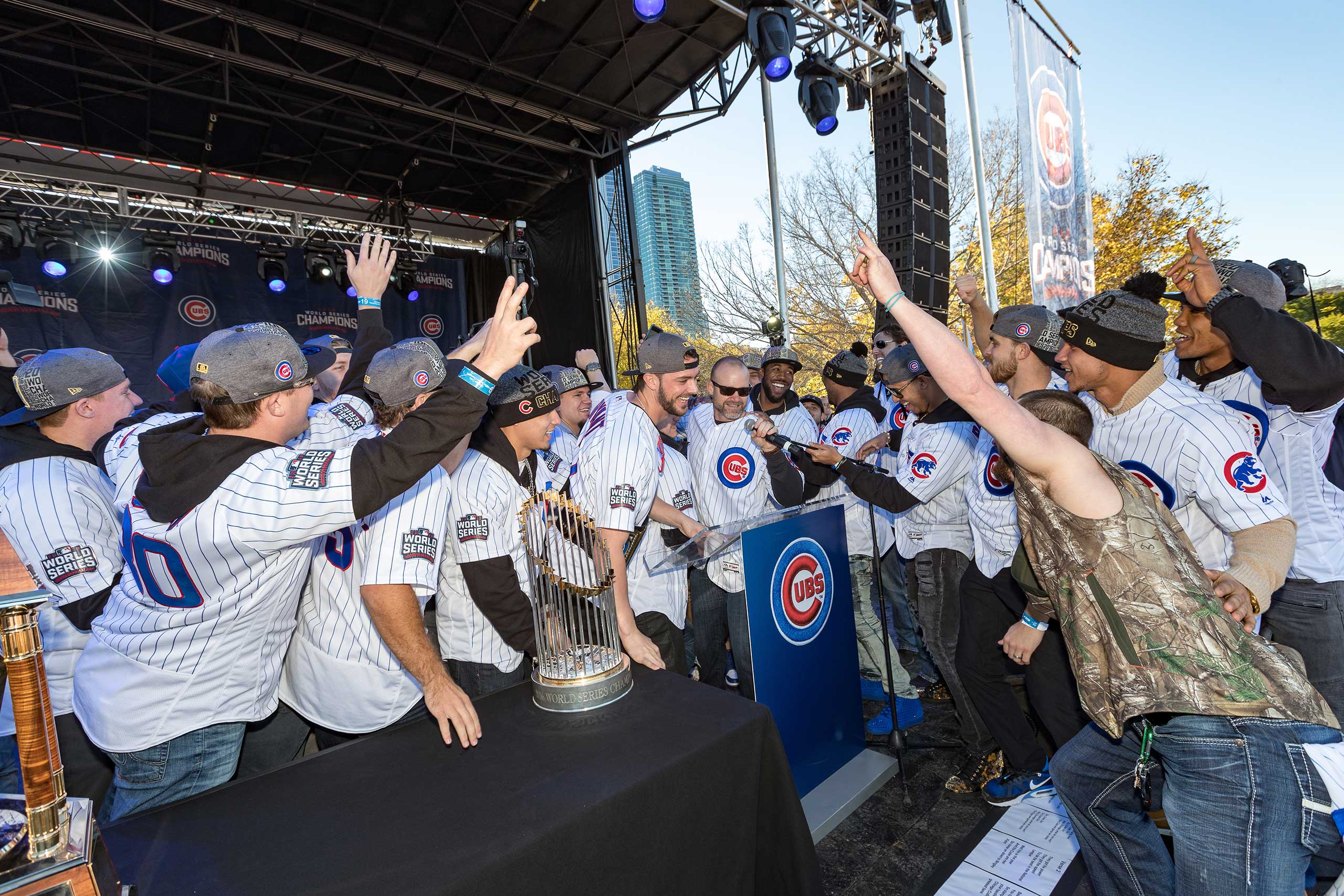 The team celebrates their championship with a parade concluding at Grant Park in Chicago, Nov. 4, 2016.