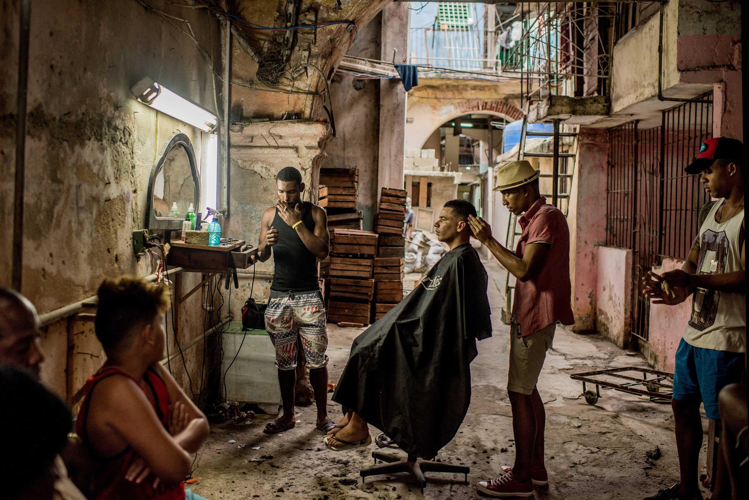 A weathered barbershop in Old Havana, Cuba on Jan. 25, 2016.