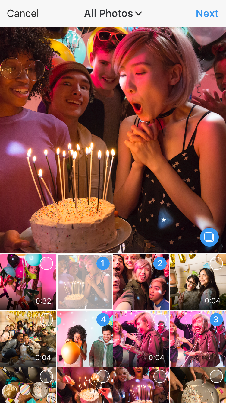 You can select up to 10 photos and videos to share