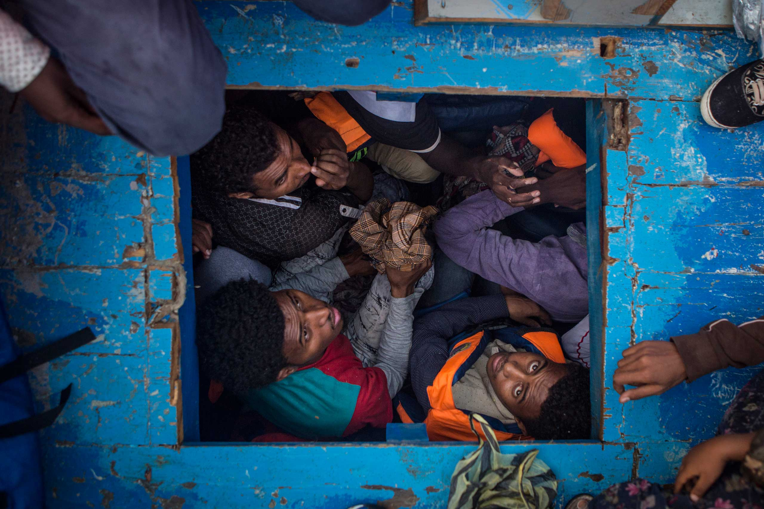 Eritreans migrants seen cramped in the hold of a large wooden boat which carried approximately 540 men women and children, mostly Eritreans.