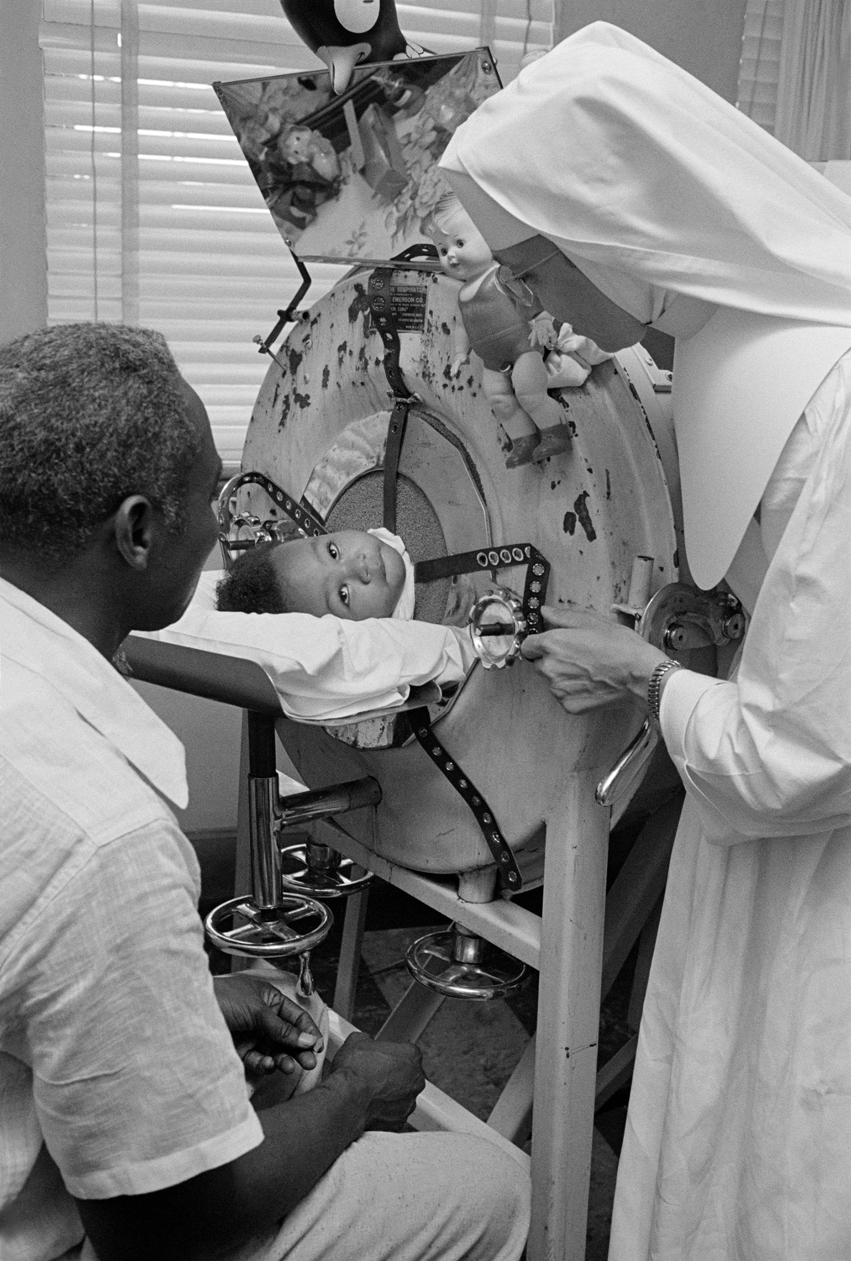 Polio treatment, Montgomery, Alabama, 1953.