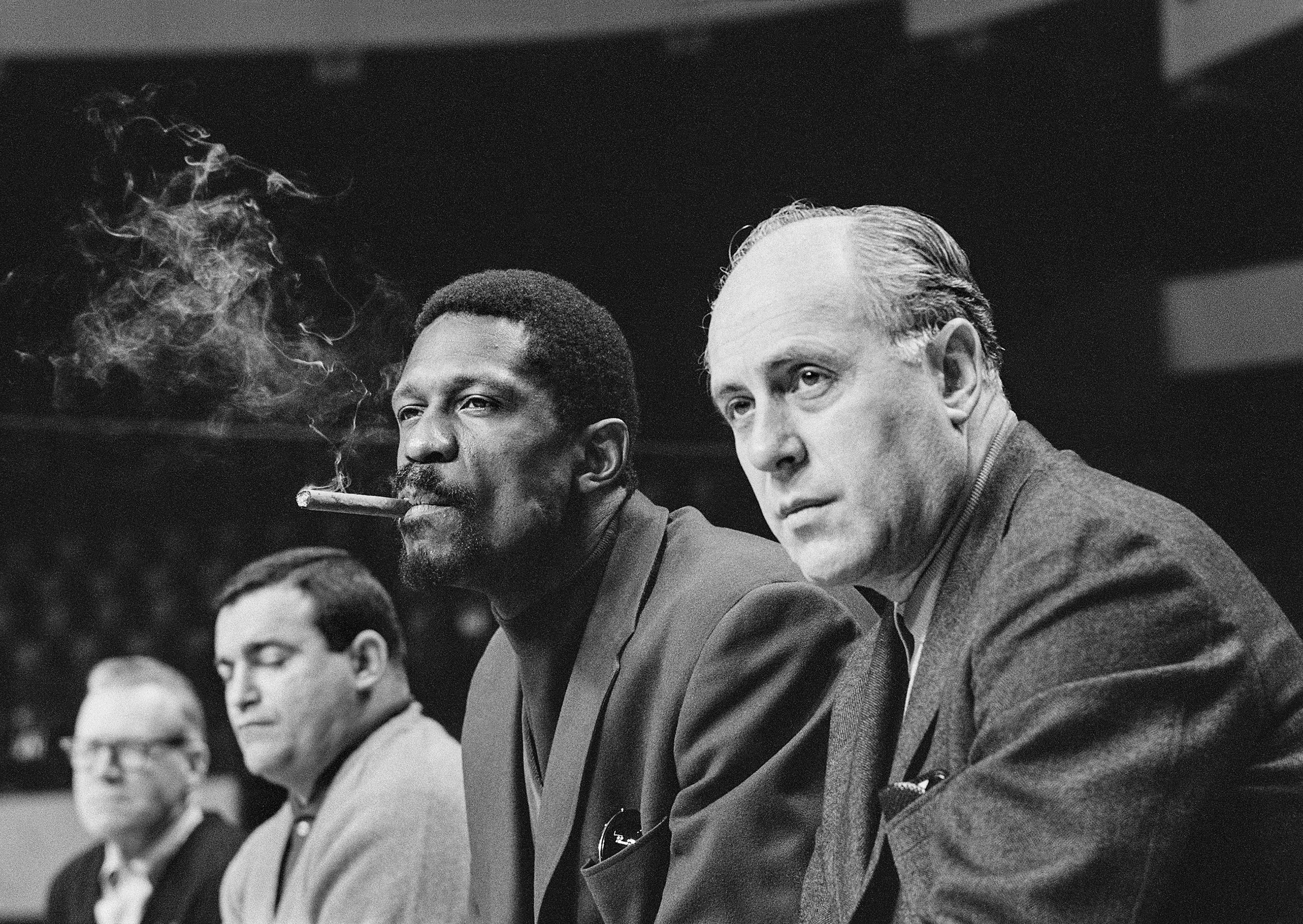 Boston Celtics' player-coach Bill Russell and team manager Red Auerbach, Boston, Mass., 1967.