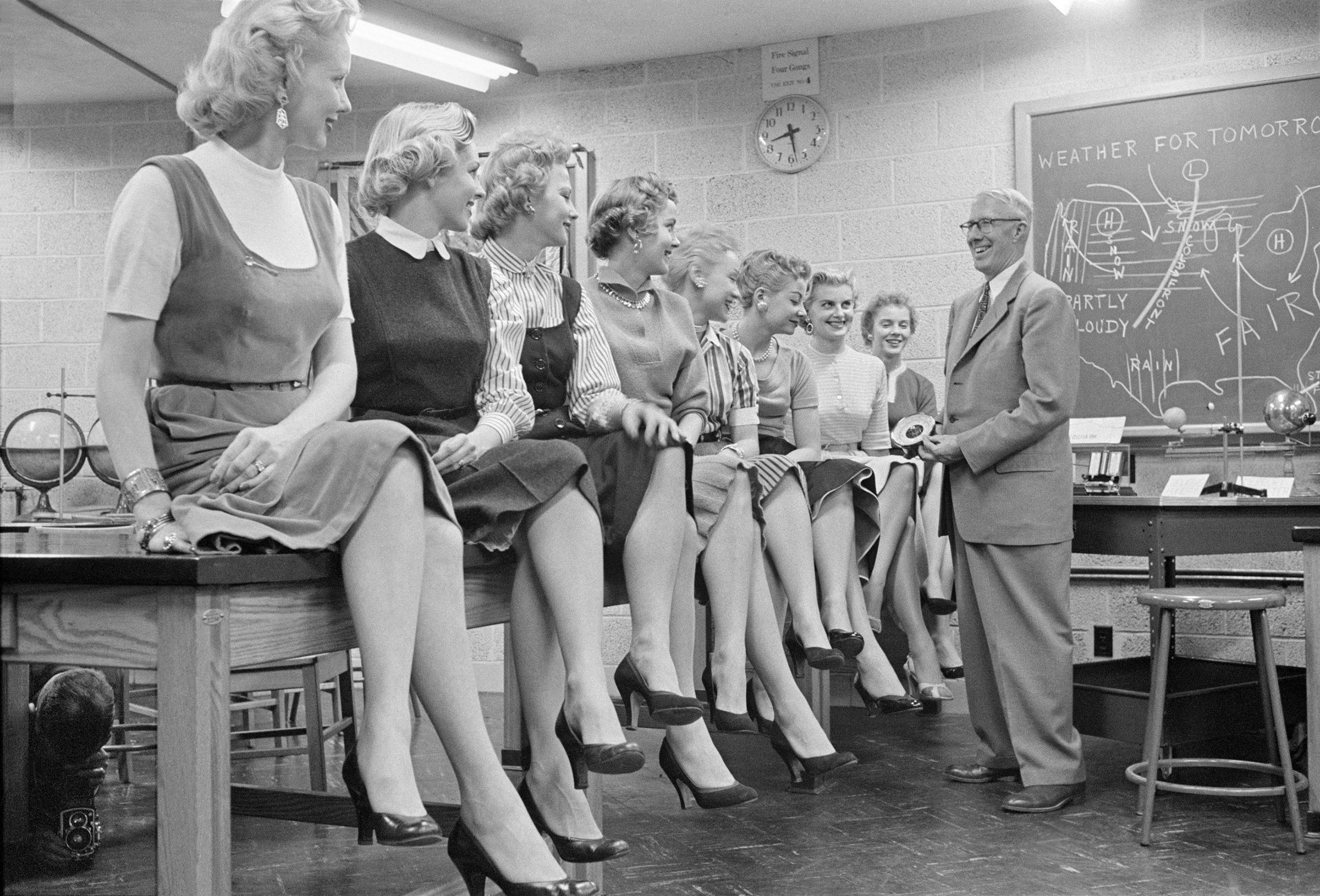 WJBK TV weather girls, Detroit, Michigan,1955.