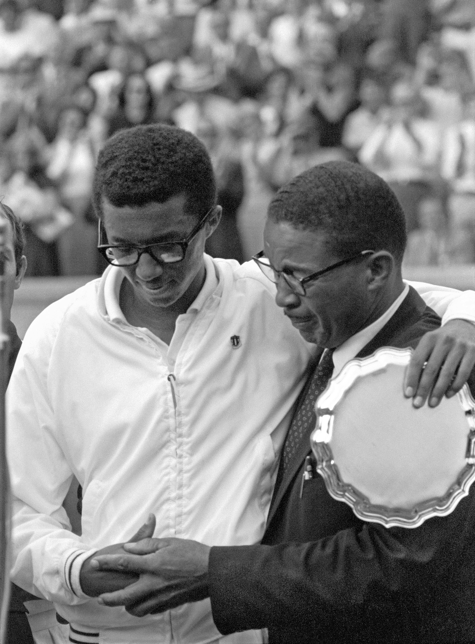 Arthur Ashe with his father after winning the U.S. Open Tennis Championship, Forest Hills, New York, 1968.