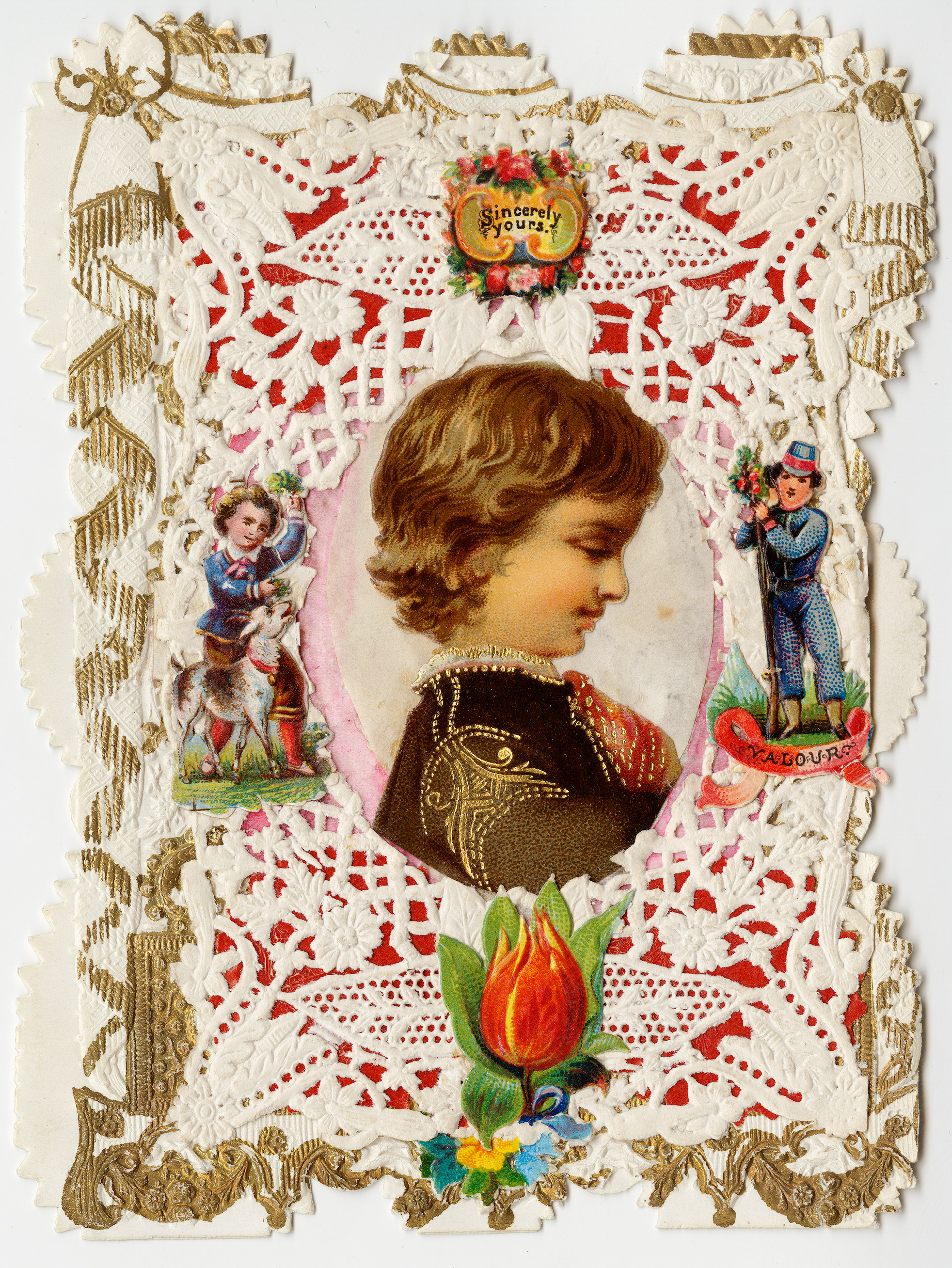 Esther Howland Valentine card,  Sincerely Yours  ca. 1870s.