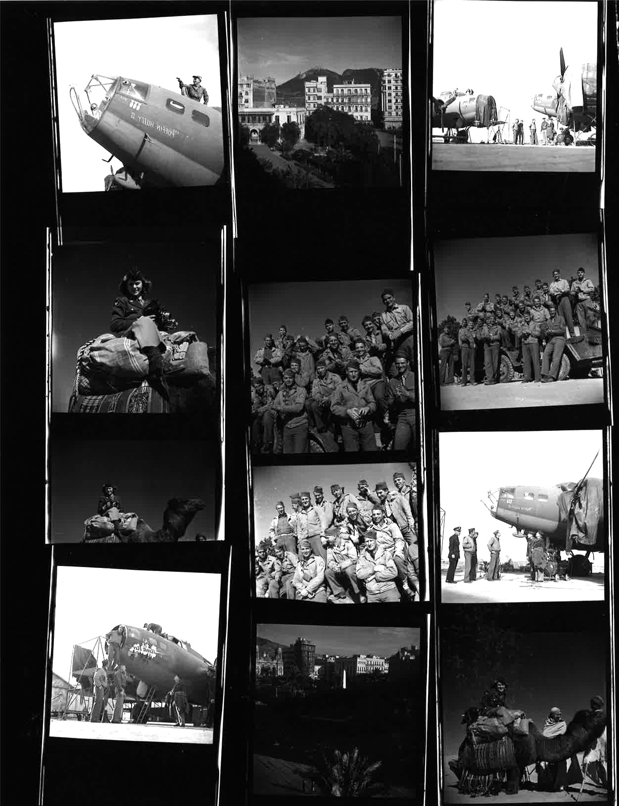 Contact sheet from Margaret Bourke-White photo set of the Tunis bombing, 1943.