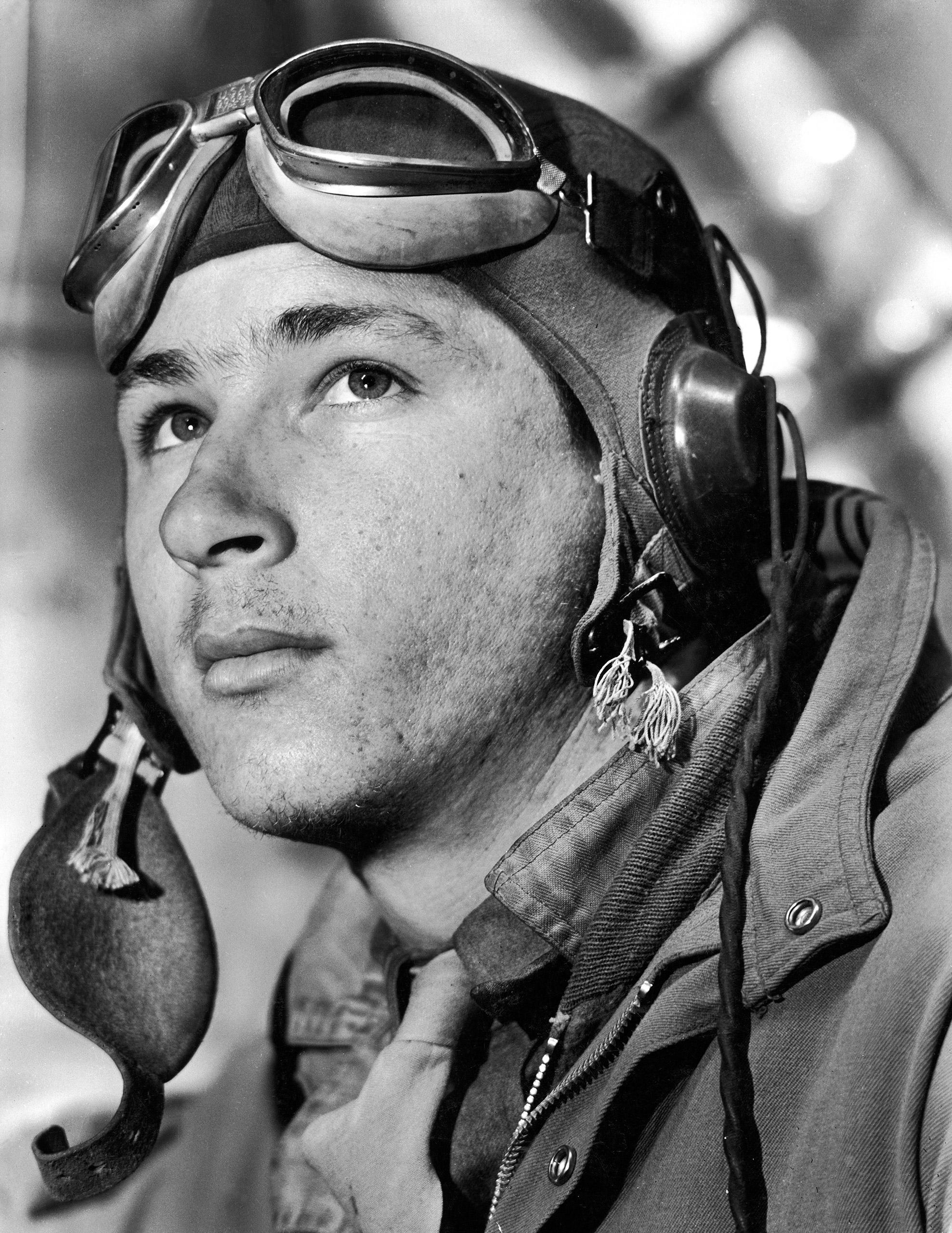 """Portrait of ball turret gunner Sgt. James M. Abbott, before taking off in Amer. B-17 """"Little Bill"""" on a bombing mission from Sahara desert airdrome."""