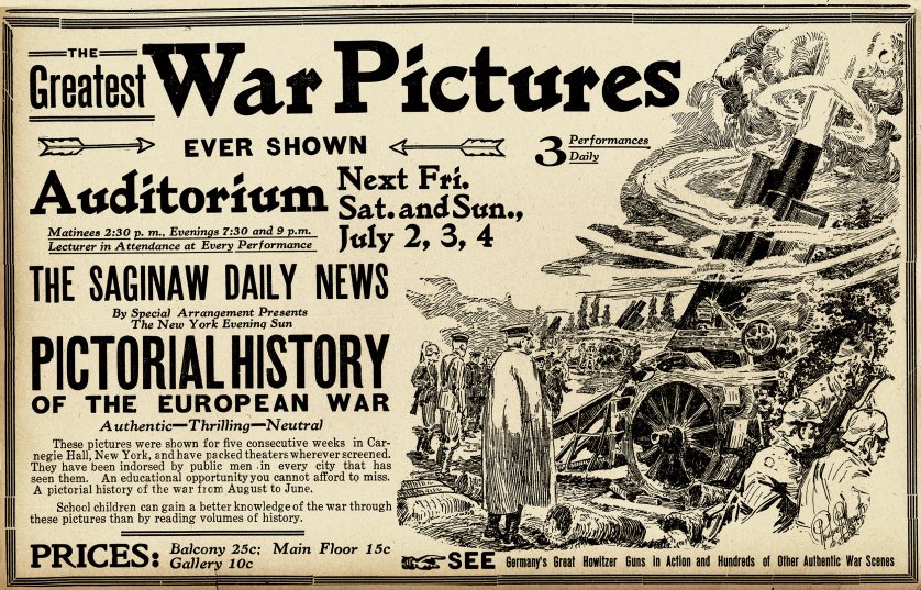 The Greatest War Pictures newspaper advertisement, 1918.