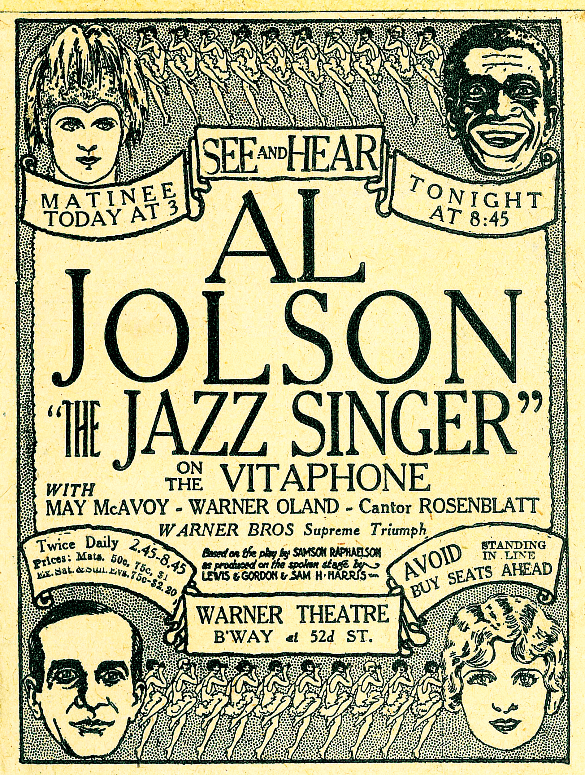 The Jazz Singer  newspaper advertisement, 1927.