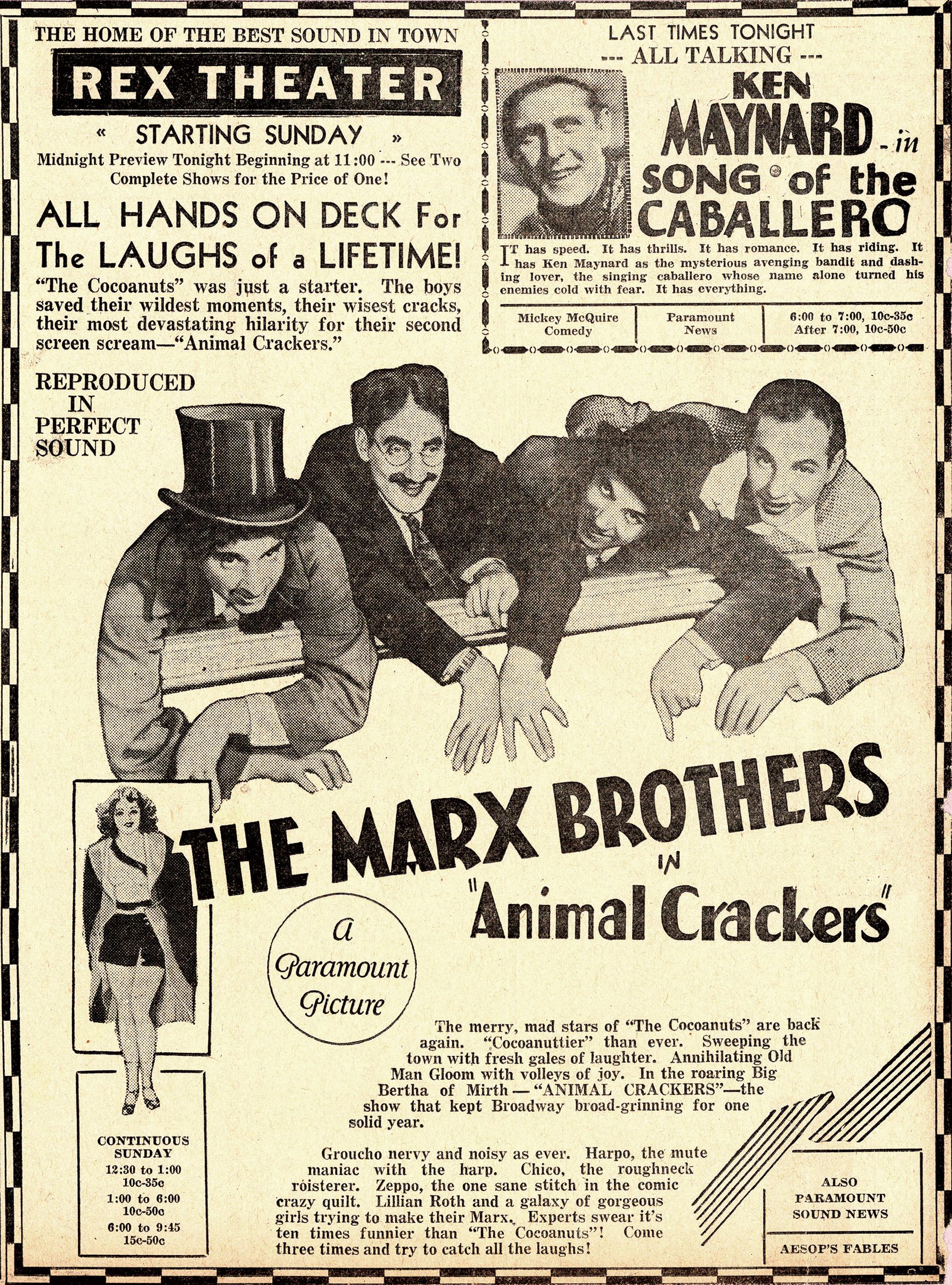 Animal Crackers newspaper advertisement, 1930.