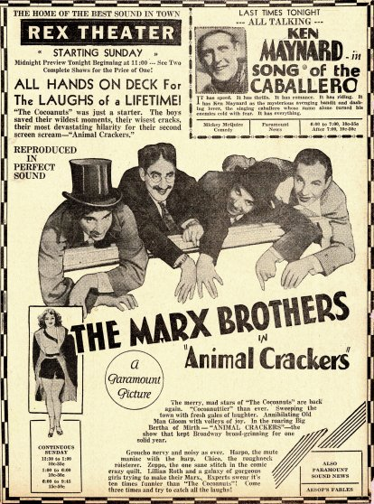Animal Crackers newspaper advertisement, 1930.