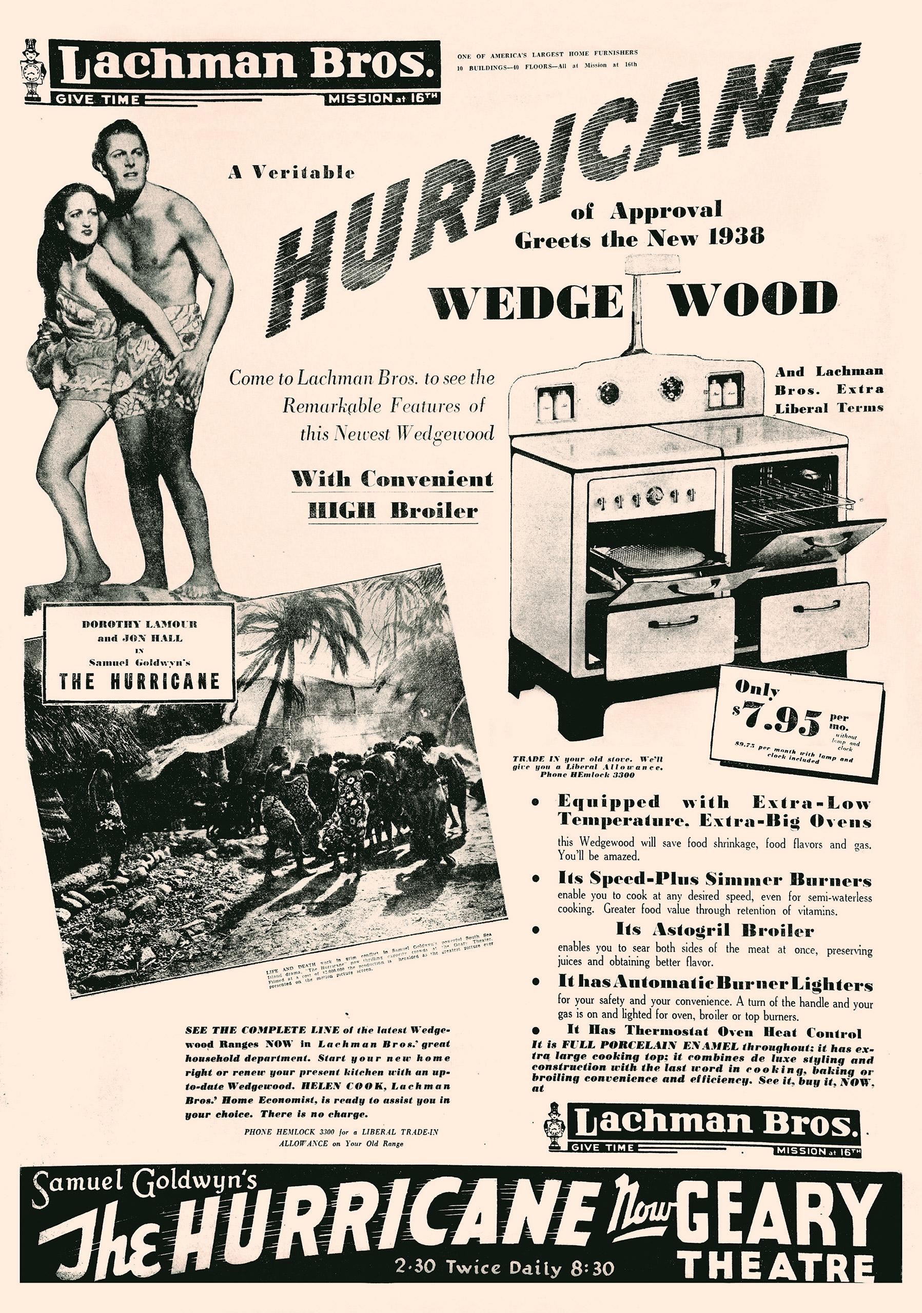 The Hurricane newspaper advertisement, 1937.