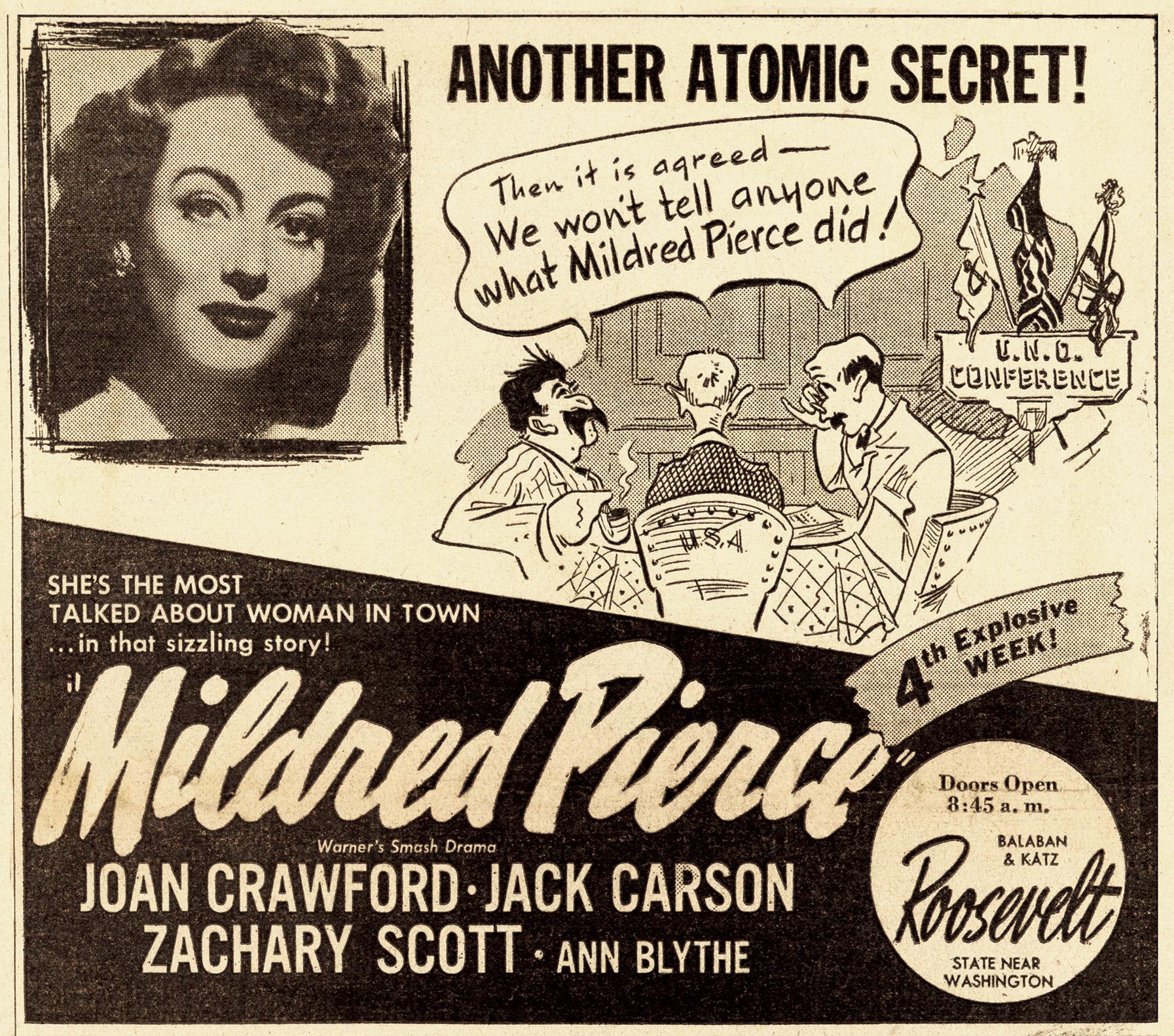 Mildred Pierce newspaper advertisement, 1945.