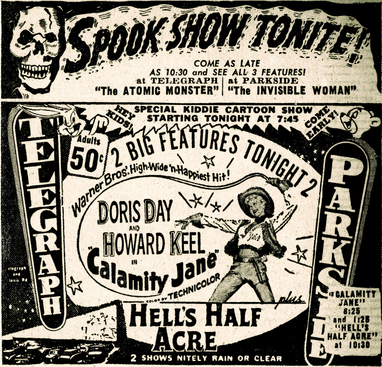 Calamity Jane newspaper advertisement, 1954.