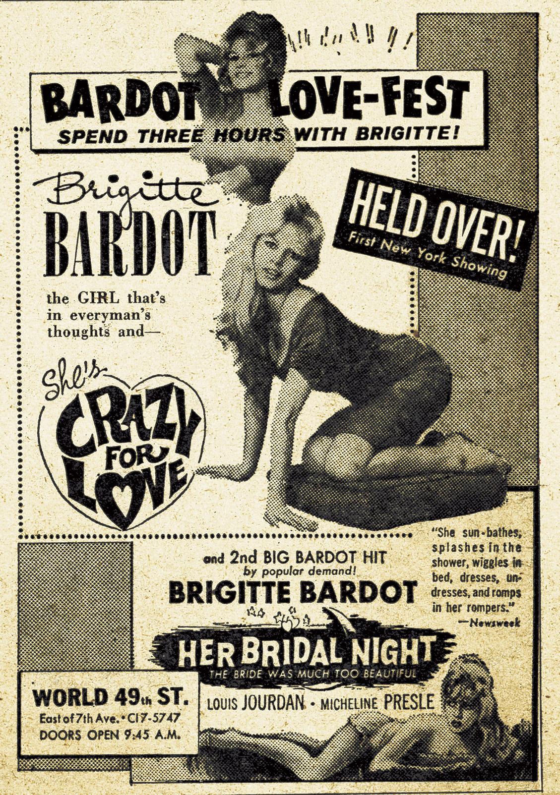 Bardot Love Fest newspaper advertisement, 1958.