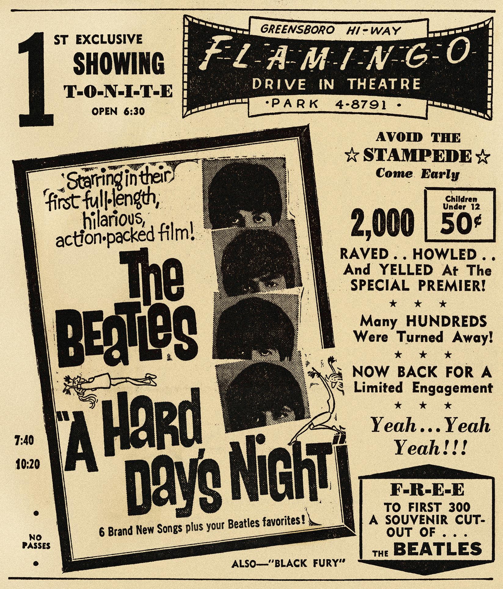 A Hard Day's Night newspaper advertisement, 1964.