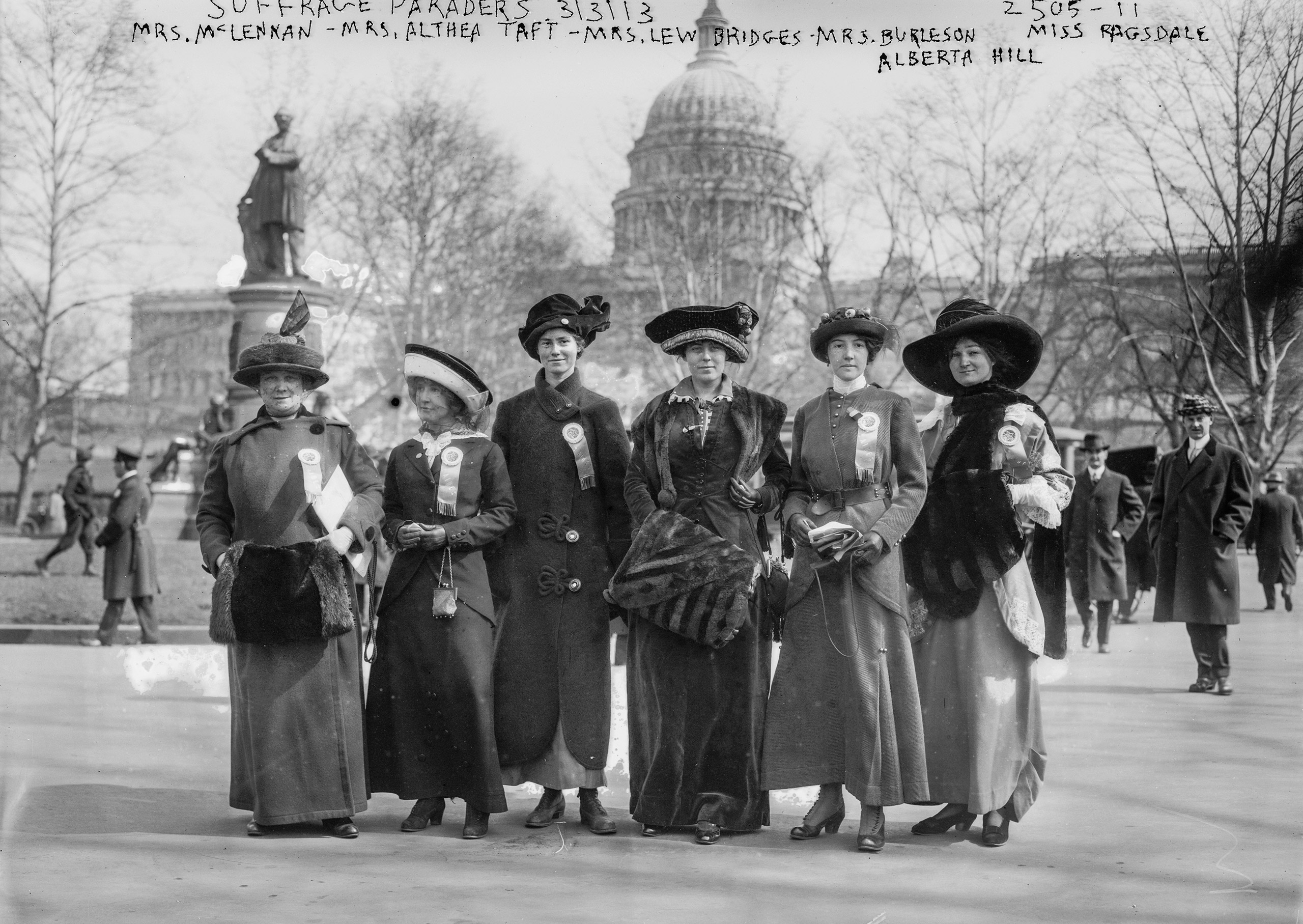 National American Woman Suffrage Association parade held in Washington, D.C., Mar. 3, 1913 showing (left to right) Mrs. Russell McLennan, Mrs. Althea Taft, Mrs. Lew Bridges, Mrs. Richard Coke Burleson, Alberta Hill and Miss F. Ragsdale.