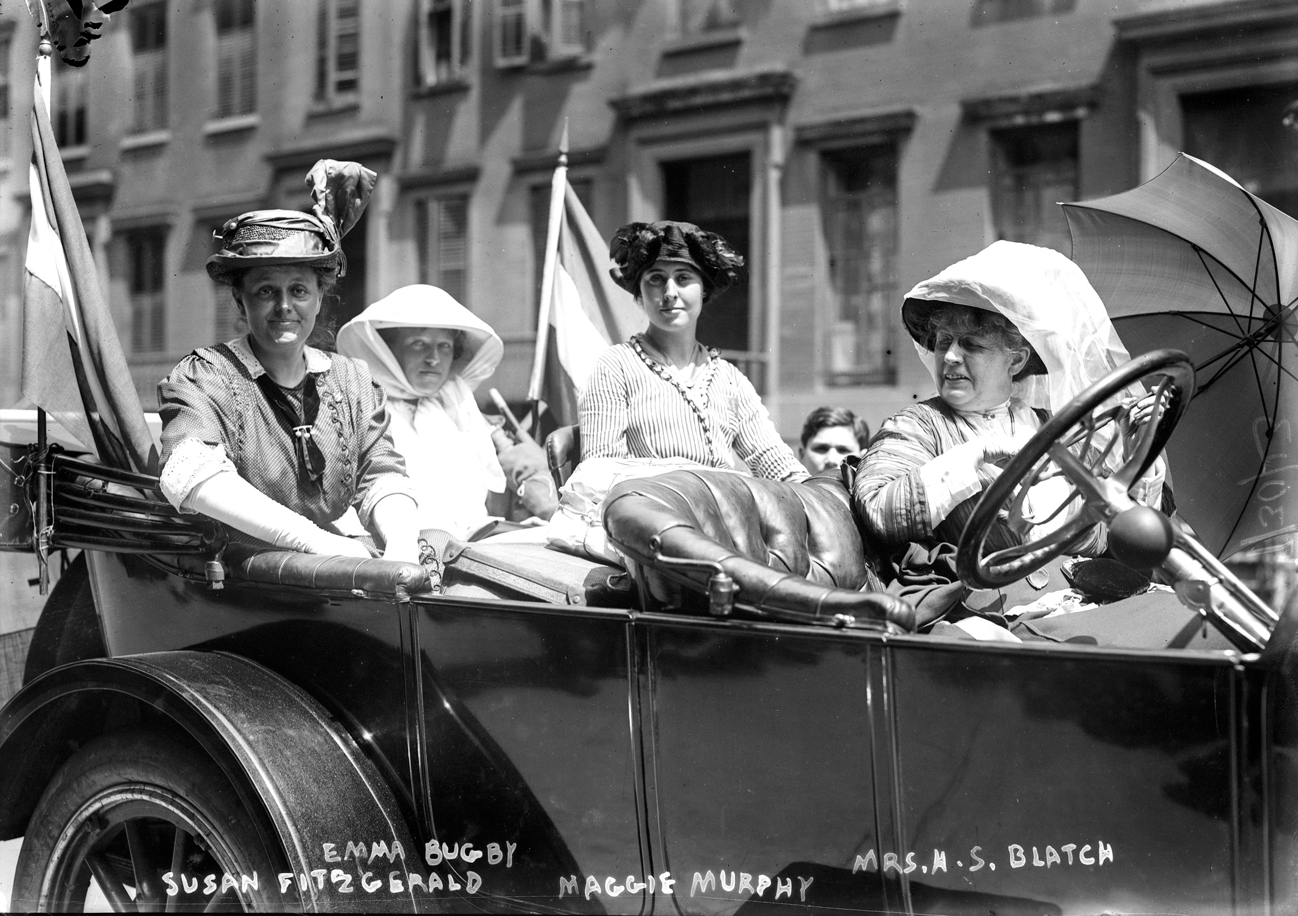 Suffragists Susan Walker Fitzgerald, Emma Bugbee, Maggie Murphy and Harriot Stanton Blatch at a women's suffrage parade in New York City, July 30, 1913.