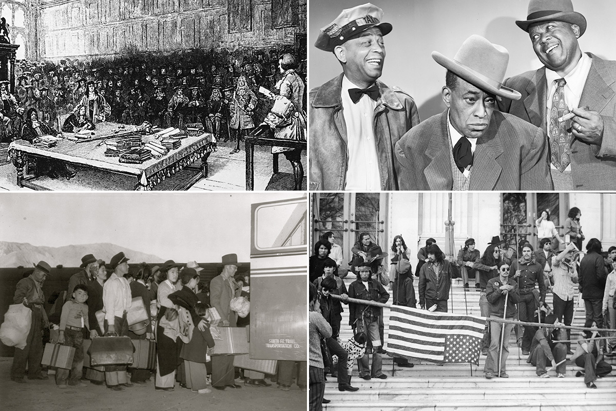 Clockwise from top left: William Kidd during his trial; 1951 Amos 'n' Andy publicity still; 1972 protest at the Bureau of Indian Affairs in Washington, D.C.; Japanese-Americans bound for Manzanar in 1942