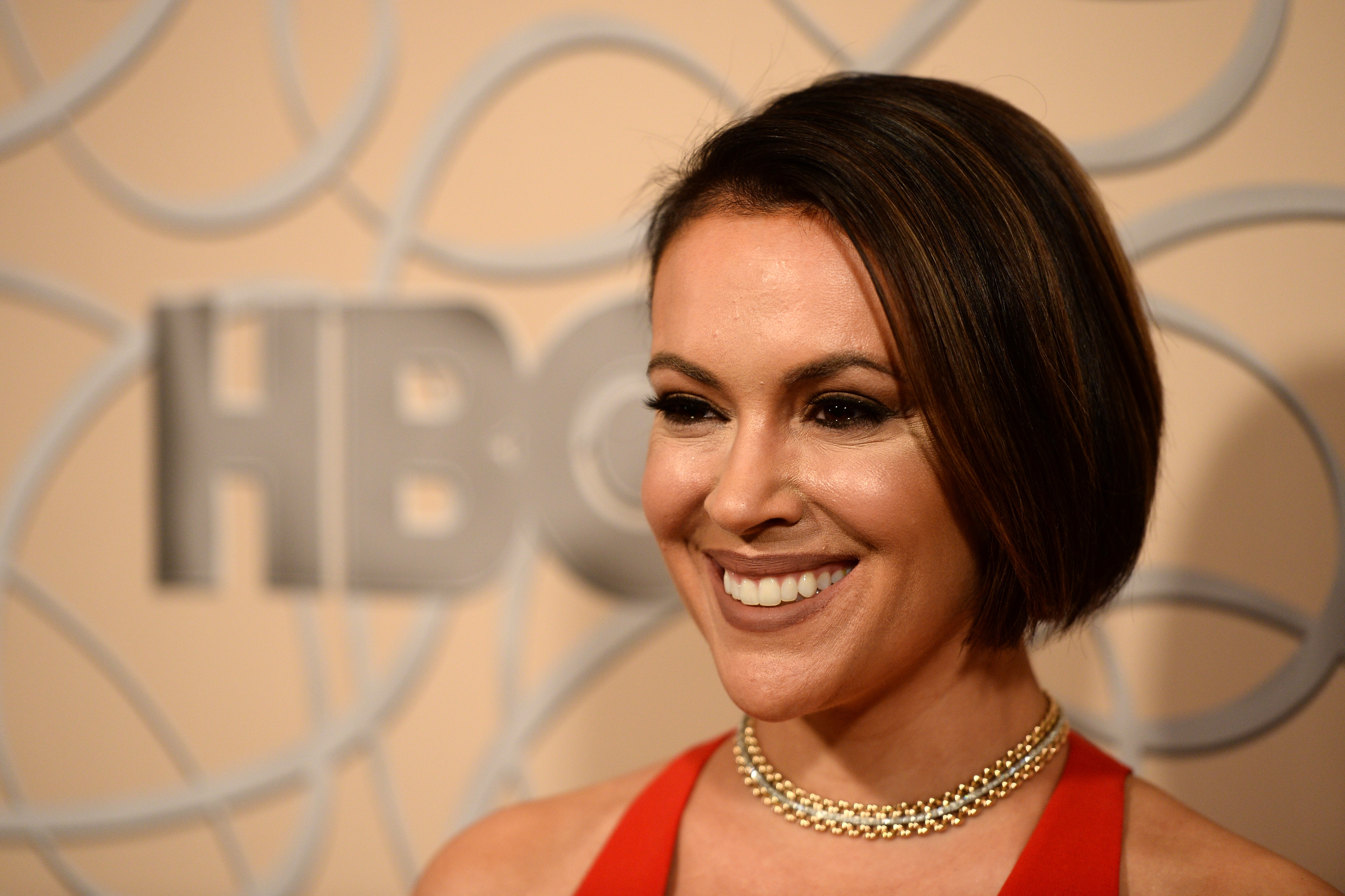 Actress Alyssa Milano arrives at HBO's Official Golden Globe Awards After Party at Circa 55 Restaurant on Jan. 8, 2017 in Los Angeles, California.