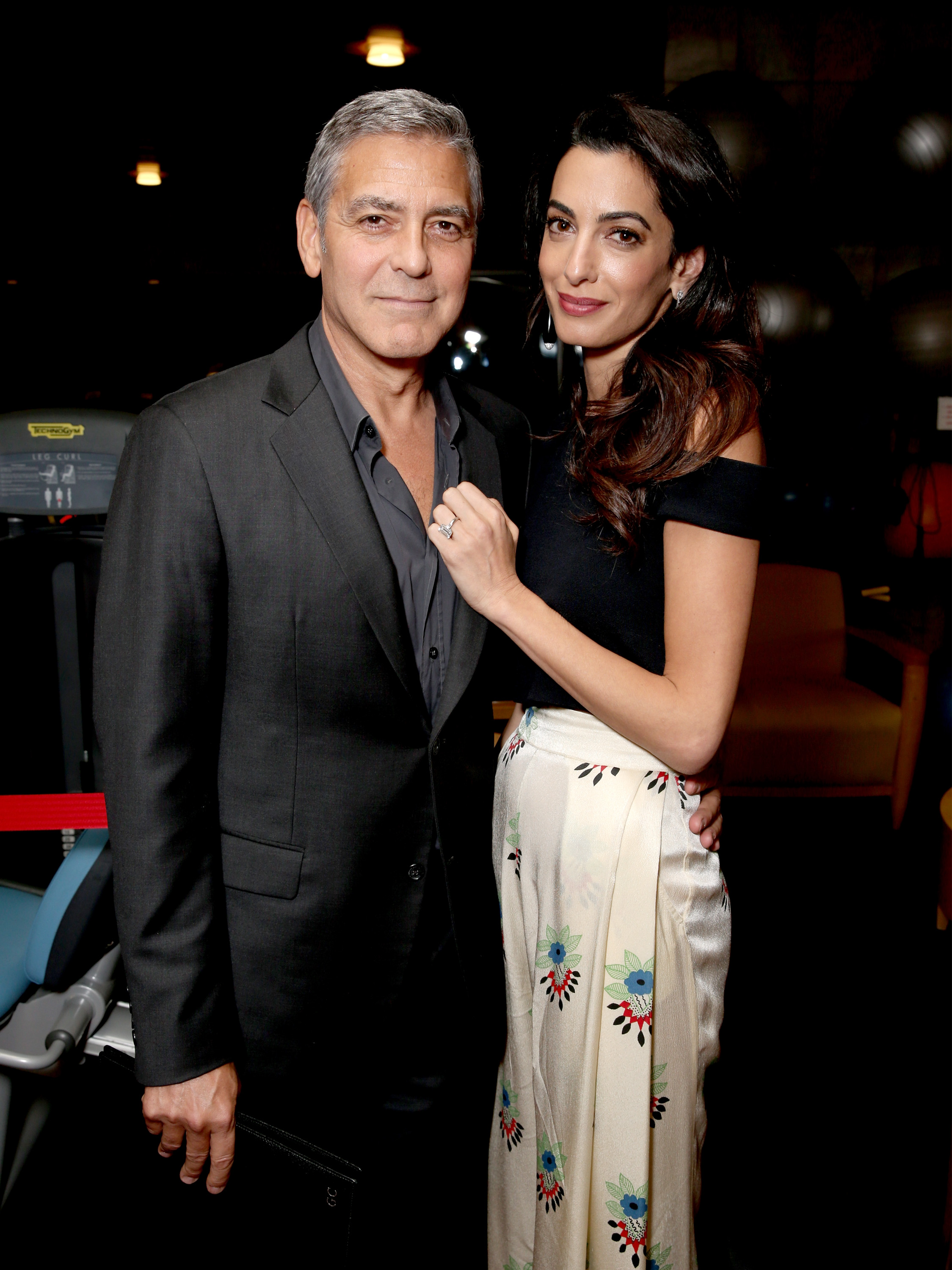 LOS ANGELES, CA - OCTOBER 01:  Host George Clooney (L) and lawyer Amal Clooney attend the MPTF 95th anniversary celebration with  Hollywood's Night Under The Stars  at MPTF Wasserman Campus on October 1, 2016 in Los Angeles, California.  (Photo by Todd Williamson/Getty Images for MPTF)