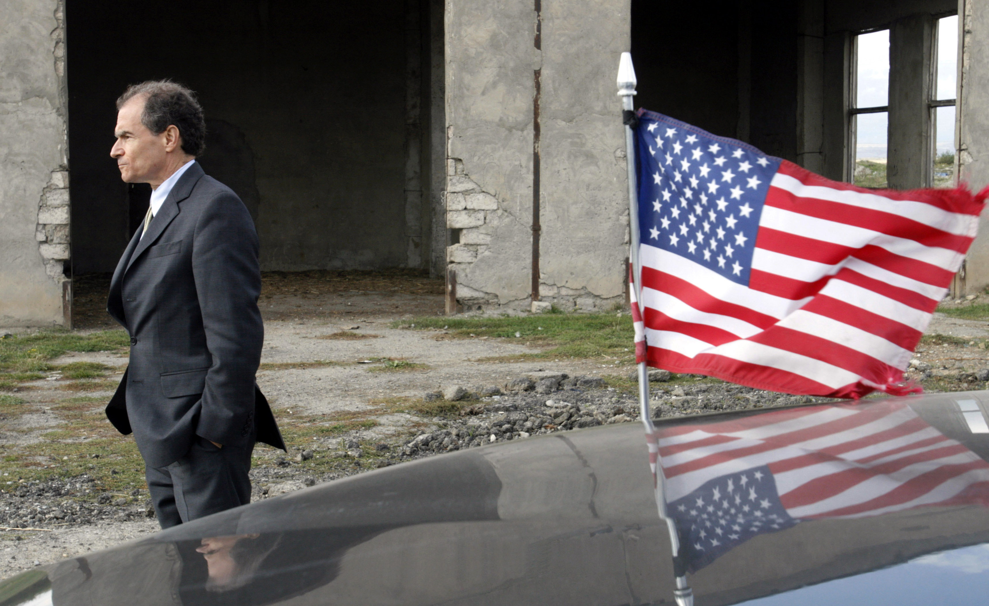 Then U.S. Assistant Secretary of State Daniel Fried visits the ethnic Georgian village of Nikozi, on the border of Russian-backed separatist region of South Ossetia, Oct. 19, 2008.